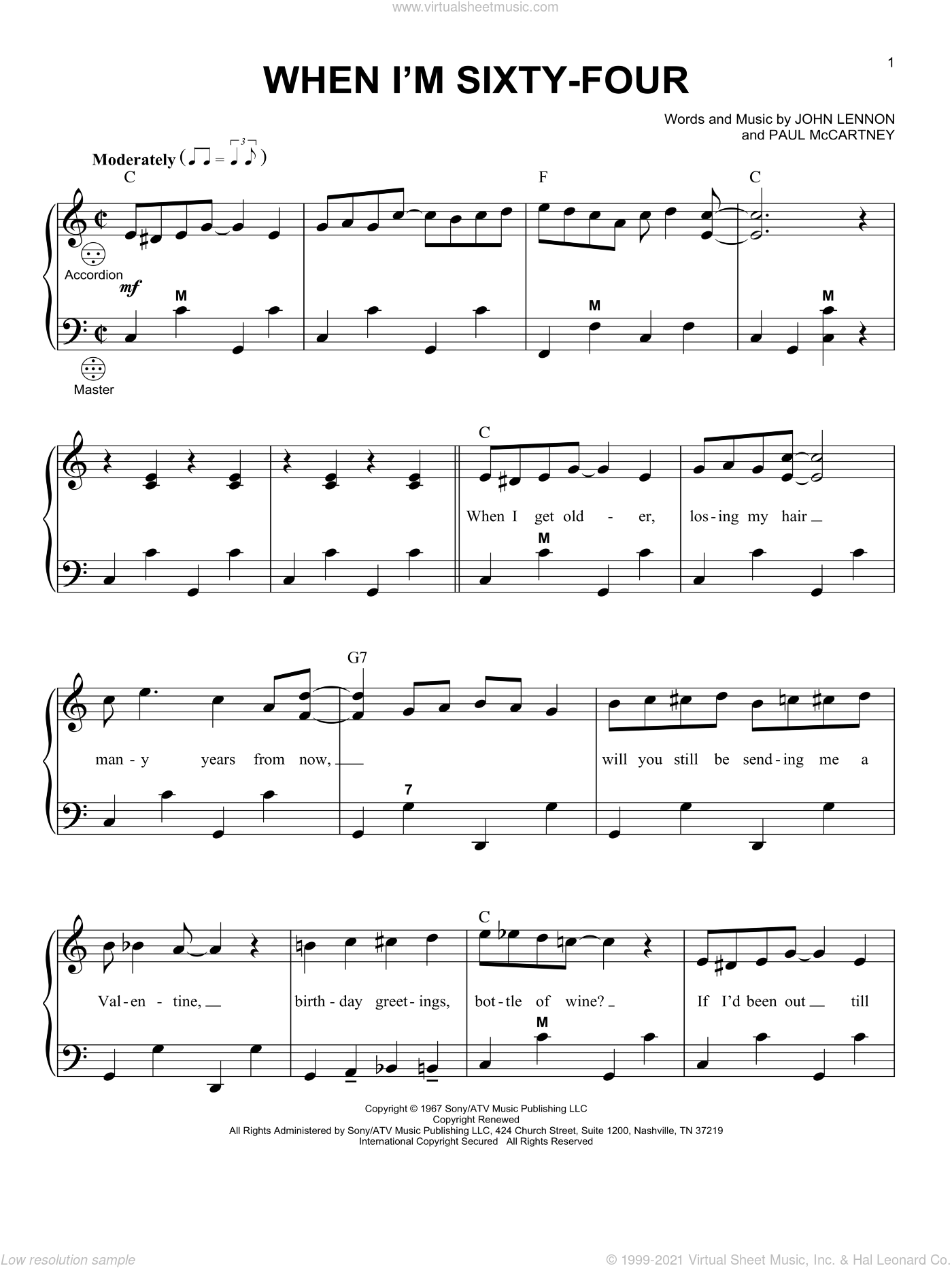When I'm Sixty-Four sheet music for accordion by The Beatles, John Lennon and Paul McCartney, intermediate skill level