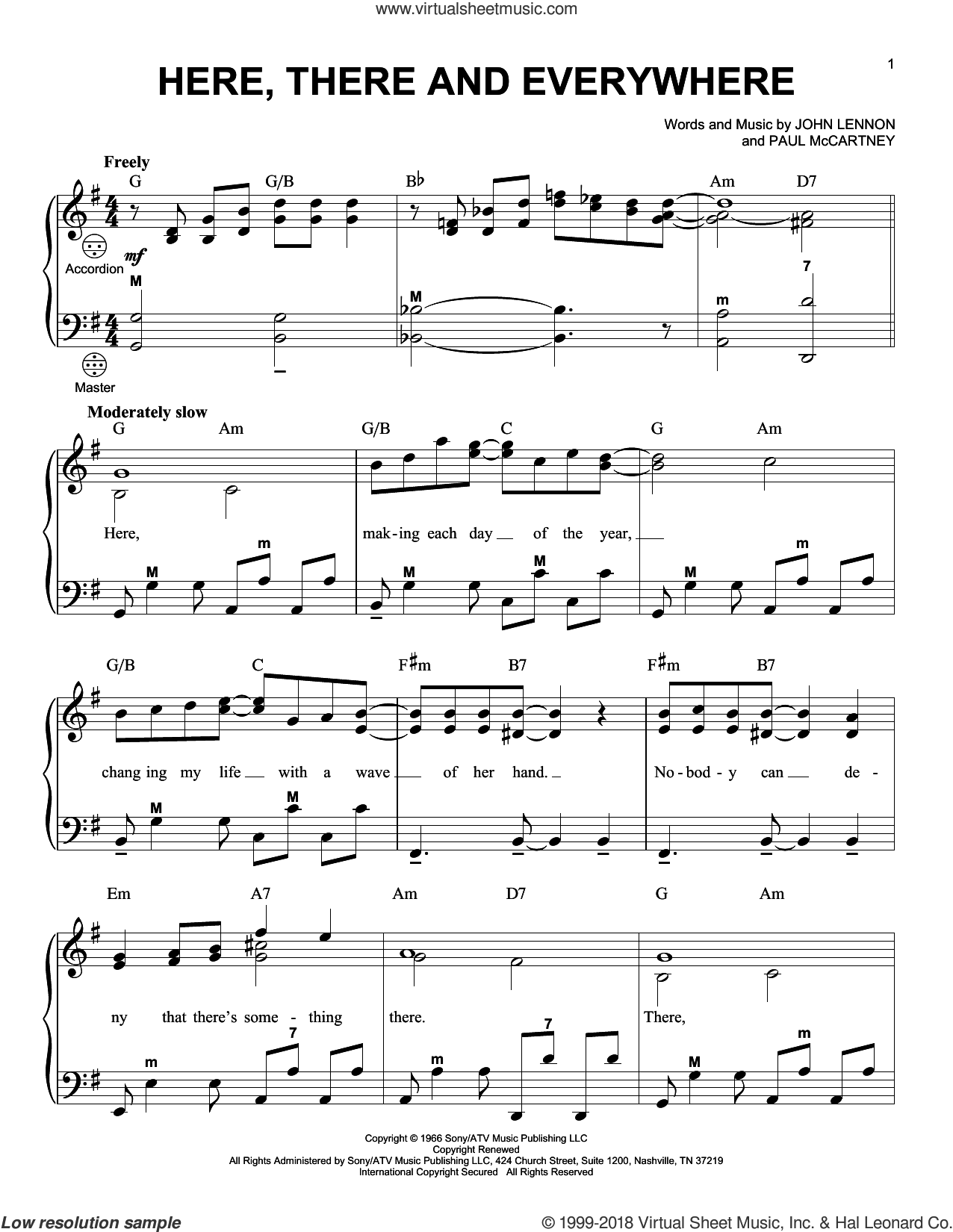 Here, There And Everywhere sheet music for accordion by The Beatles, John Lennon and Paul McCartney, intermediate skill level