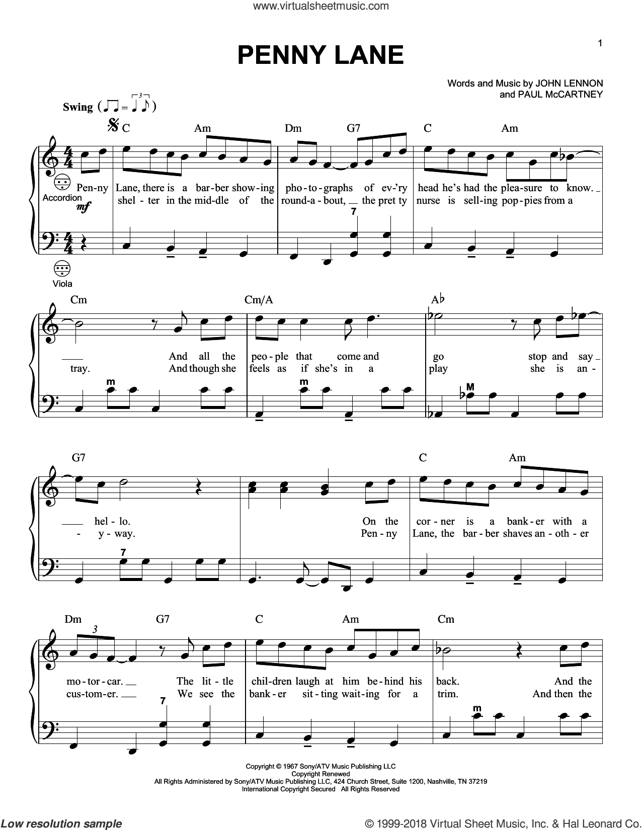 Penny Lane sheet music for accordion by The Beatles, John Lennon and Paul McCartney, intermediate skill level
