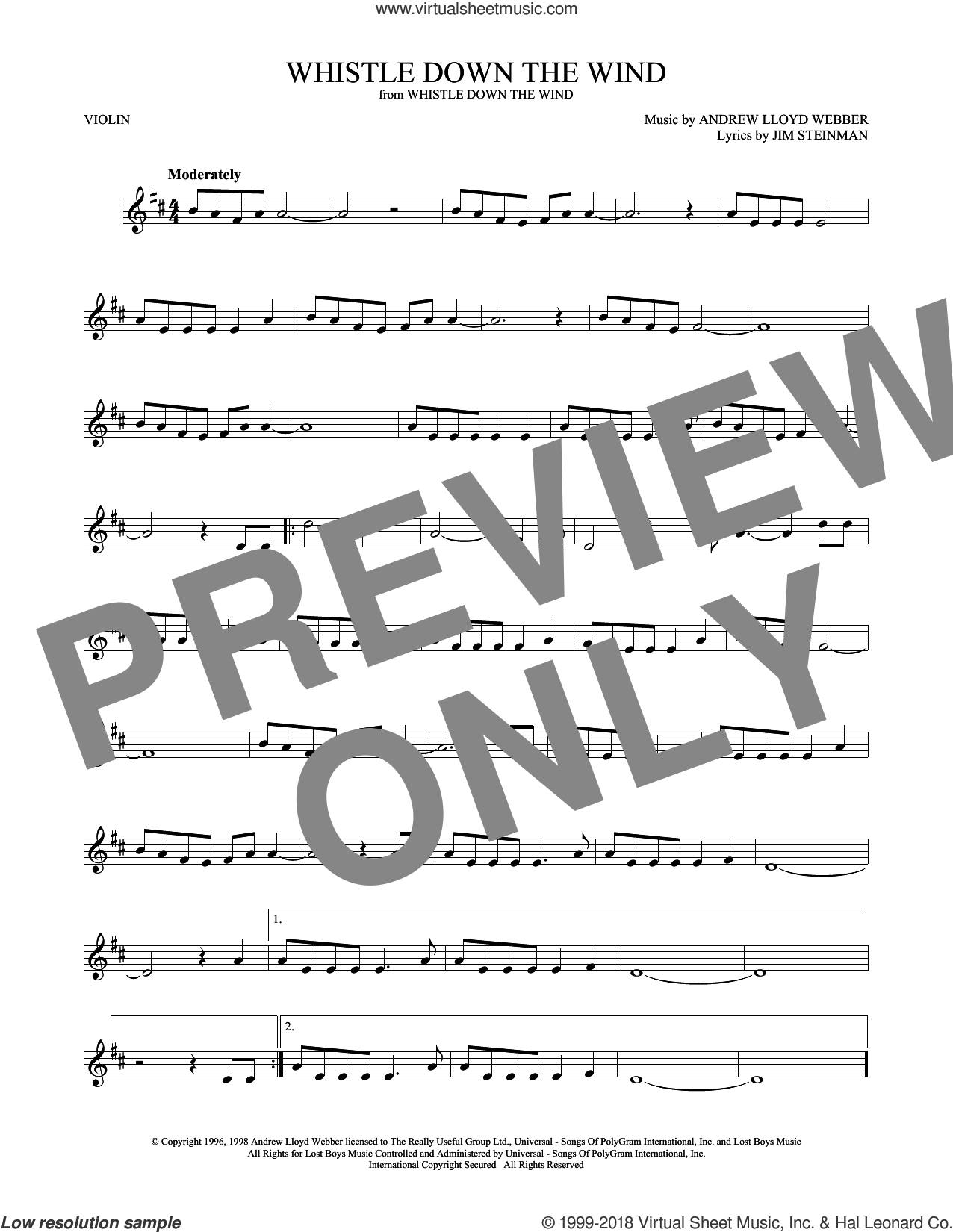 Whistle Down The Wind sheet music for violin solo by Andrew Lloyd Webber and Jim Steinman, intermediate skill level