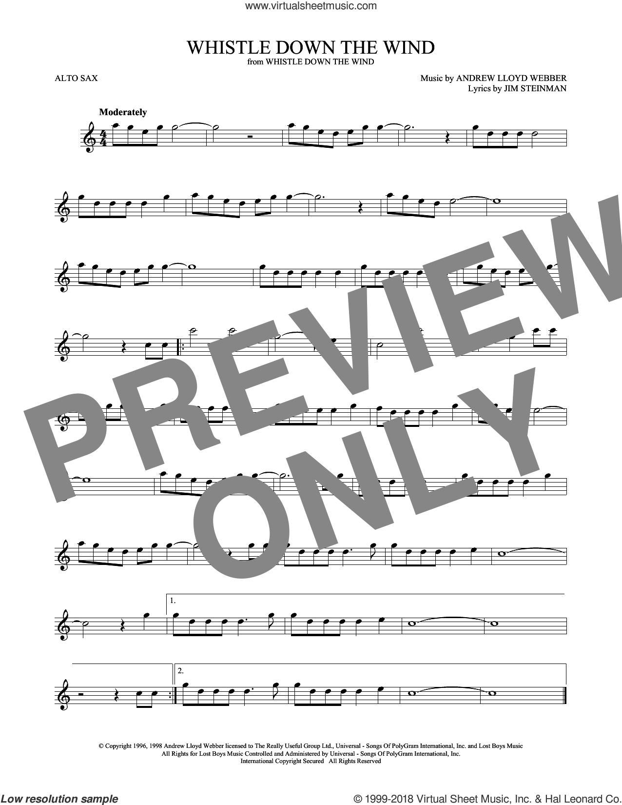 Whistle Down The Wind sheet music for alto saxophone solo by Andrew Lloyd Webber and Jim Steinman, intermediate skill level