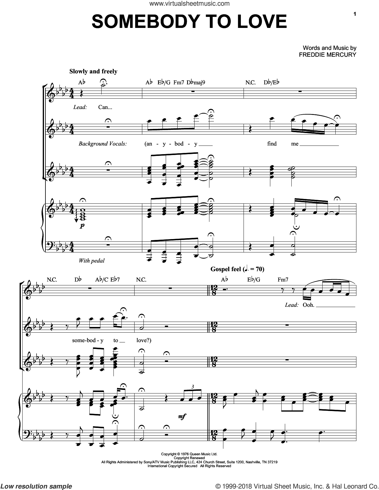 Somebody To Love sheet music for voice and piano by Queen and Freddie Mercury, intermediate skill level