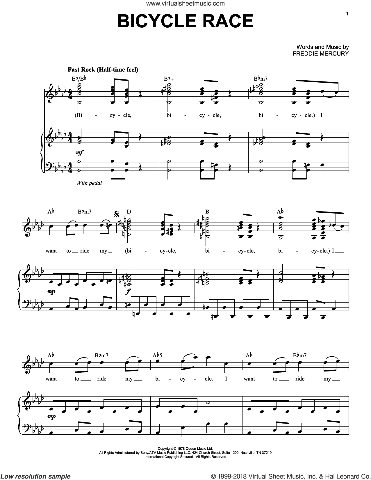 Bicycle Race sheet music for voice and piano by Queen and Freddie Mercury, intermediate skill level