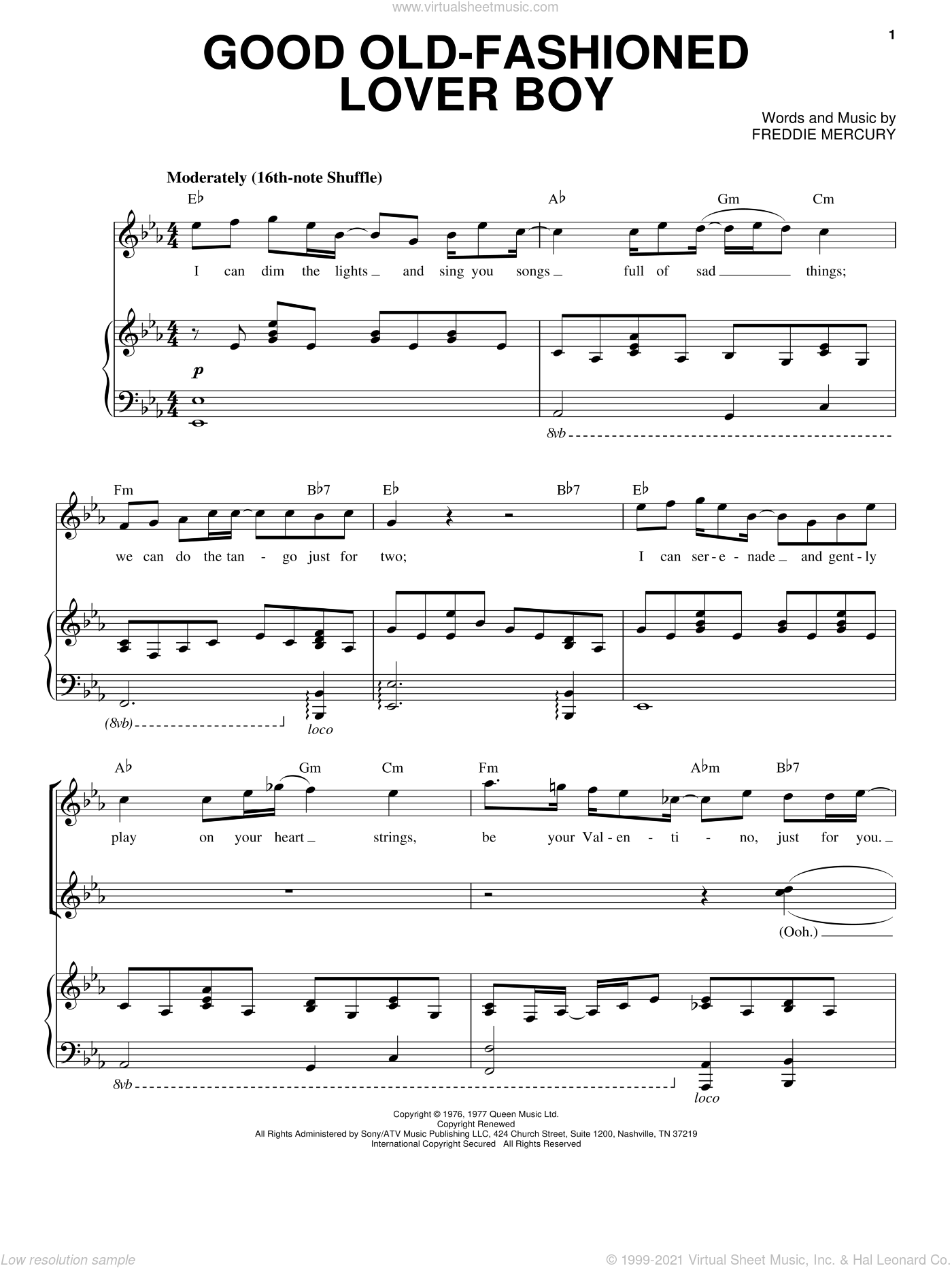 Good Old-Fashioned Lover Boy sheet music for voice and piano by Queen and Freddie Mercury, intermediate skill level
