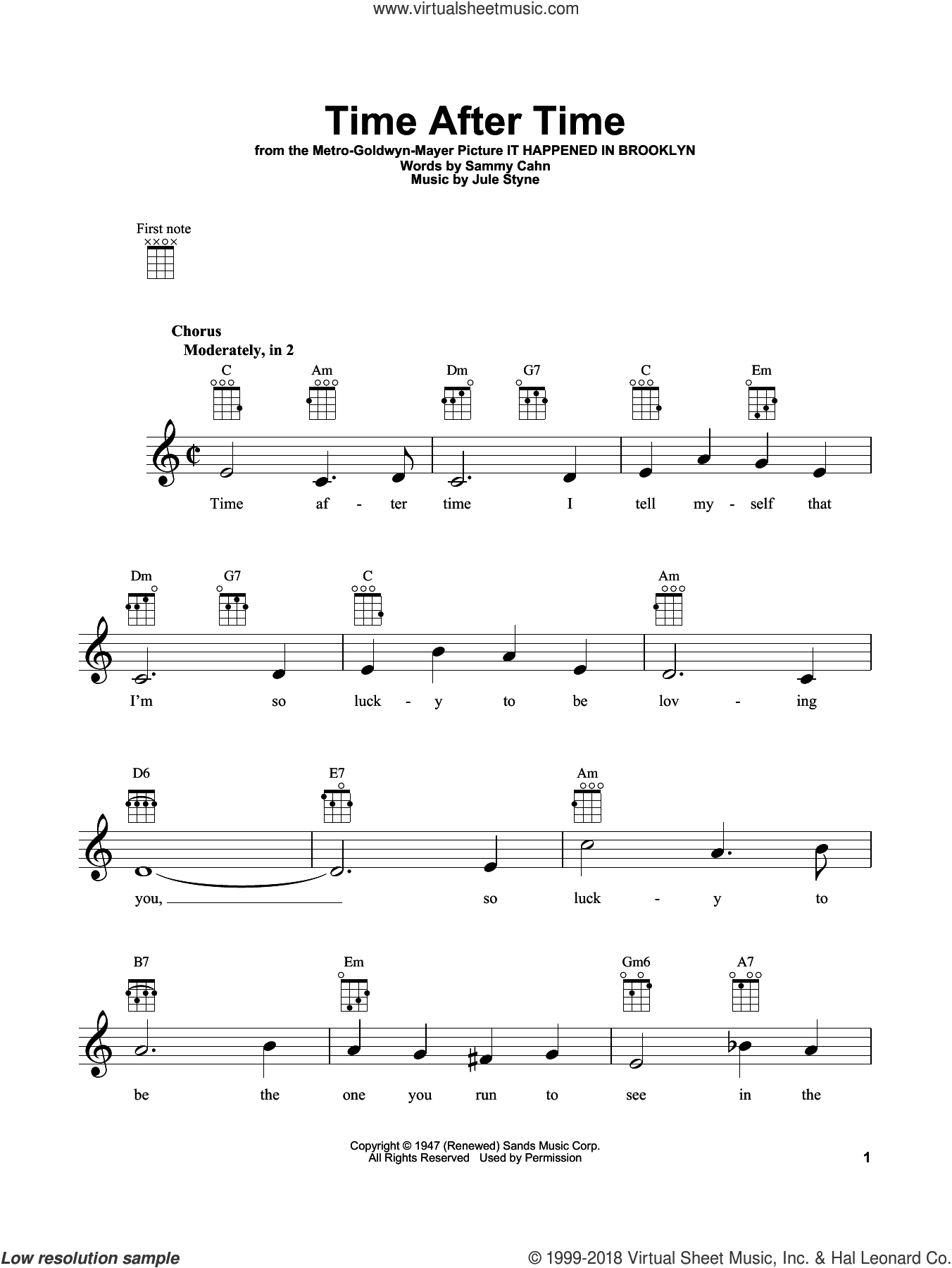 Time After Time sheet music for ukulele by Sammy Cahn and Jule Styne, intermediate skill level