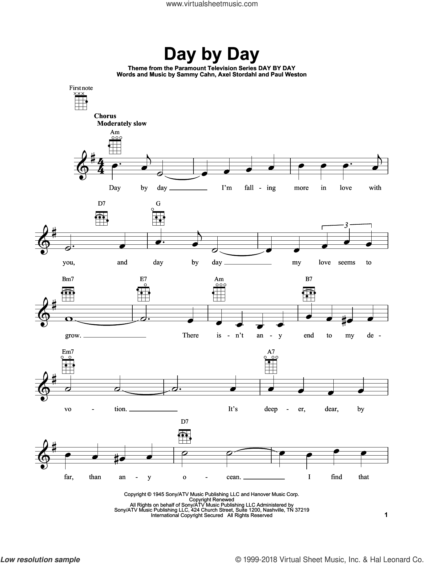 Day By Day sheet music for ukulele by Sammy Cahn, Axel Stordahl and Paul Weston, intermediate skill level