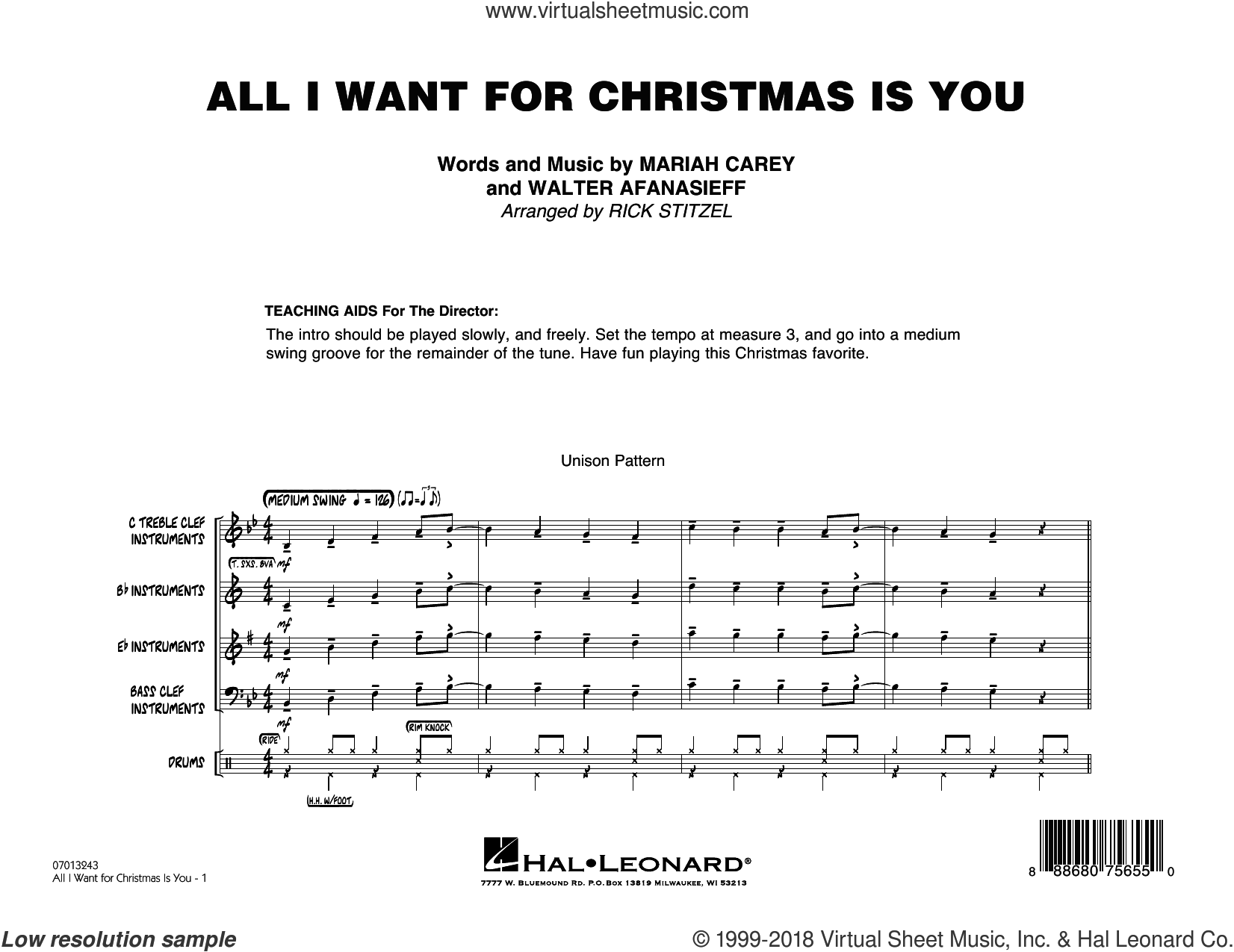 All I Want For Christmas Is You (COMPLETE) sheet music for jazz band by Mariah Carey, Rick Stitzel and Walter Afanasieff, intermediate skill level
