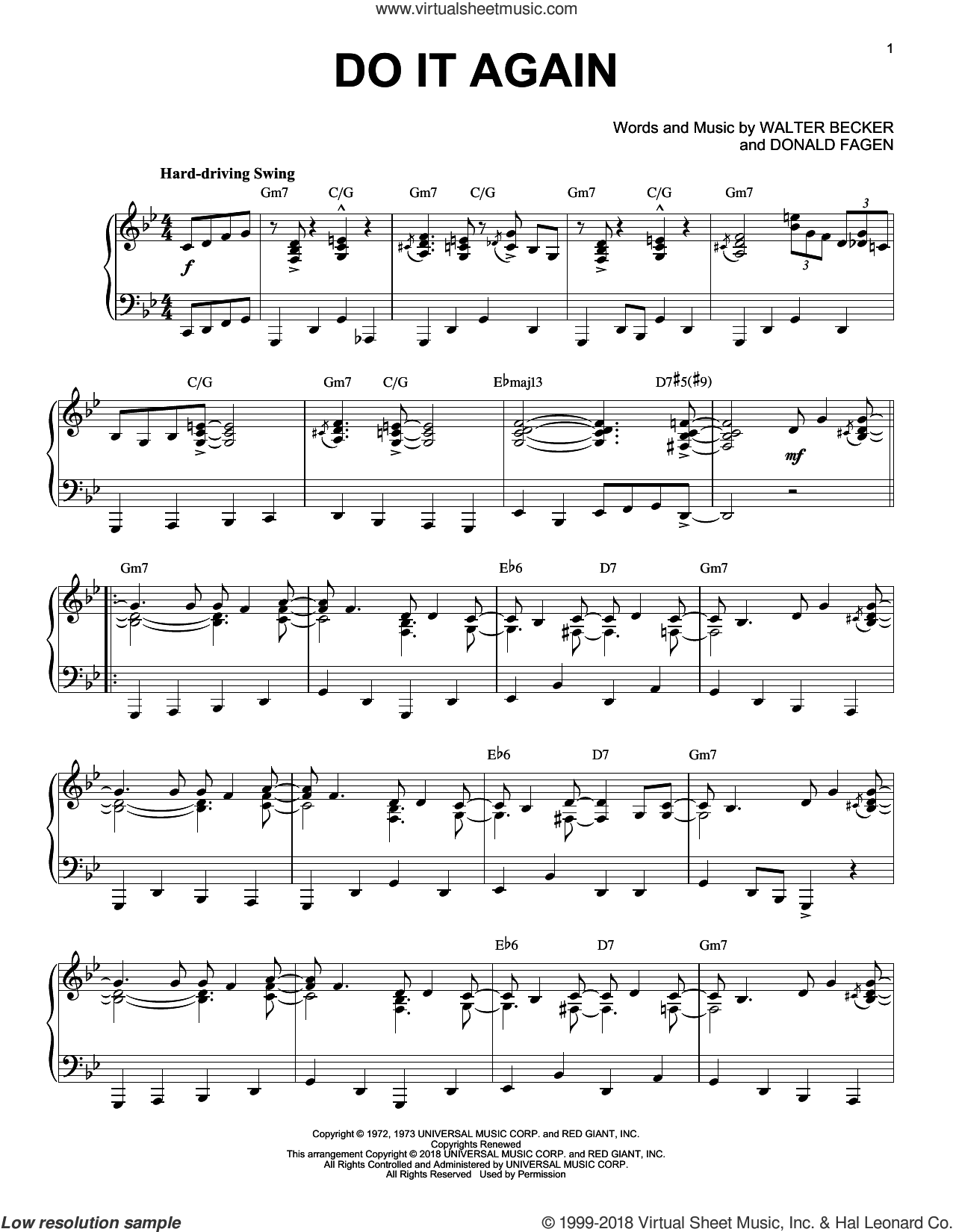 Do It Again sheet music for piano solo by Steely Dan, Donald Fagen and Walter Becker, intermediate skill level