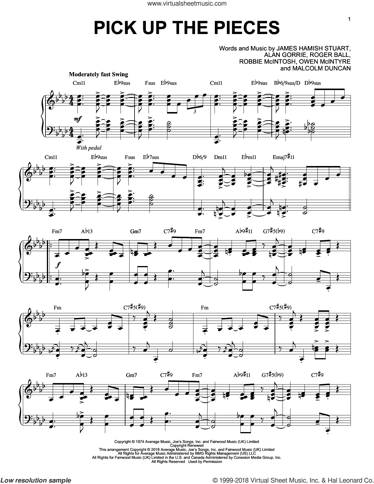 Pick Up The Pieces [Jazz version] sheet music for piano solo by Average White Band, Alan Gorrie, James Hamish Stuart, Malcolm Duncan, Owen McIntyre, Robbie McIntosh and Roger Ball, intermediate skill level