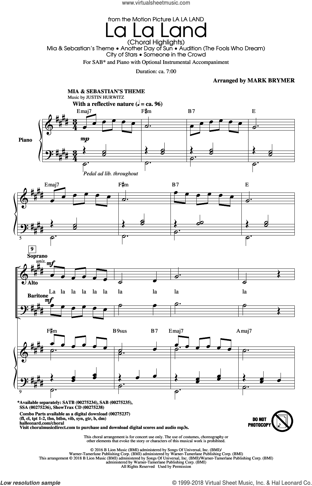 La La Land: Choral Highlights (arr. Mark Brymer) sheet music for choir (SAB: soprano, alto, bass) by Justin Paul, Mark Brymer, Benj Pasek and Justin Hurwitz, intermediate skill level