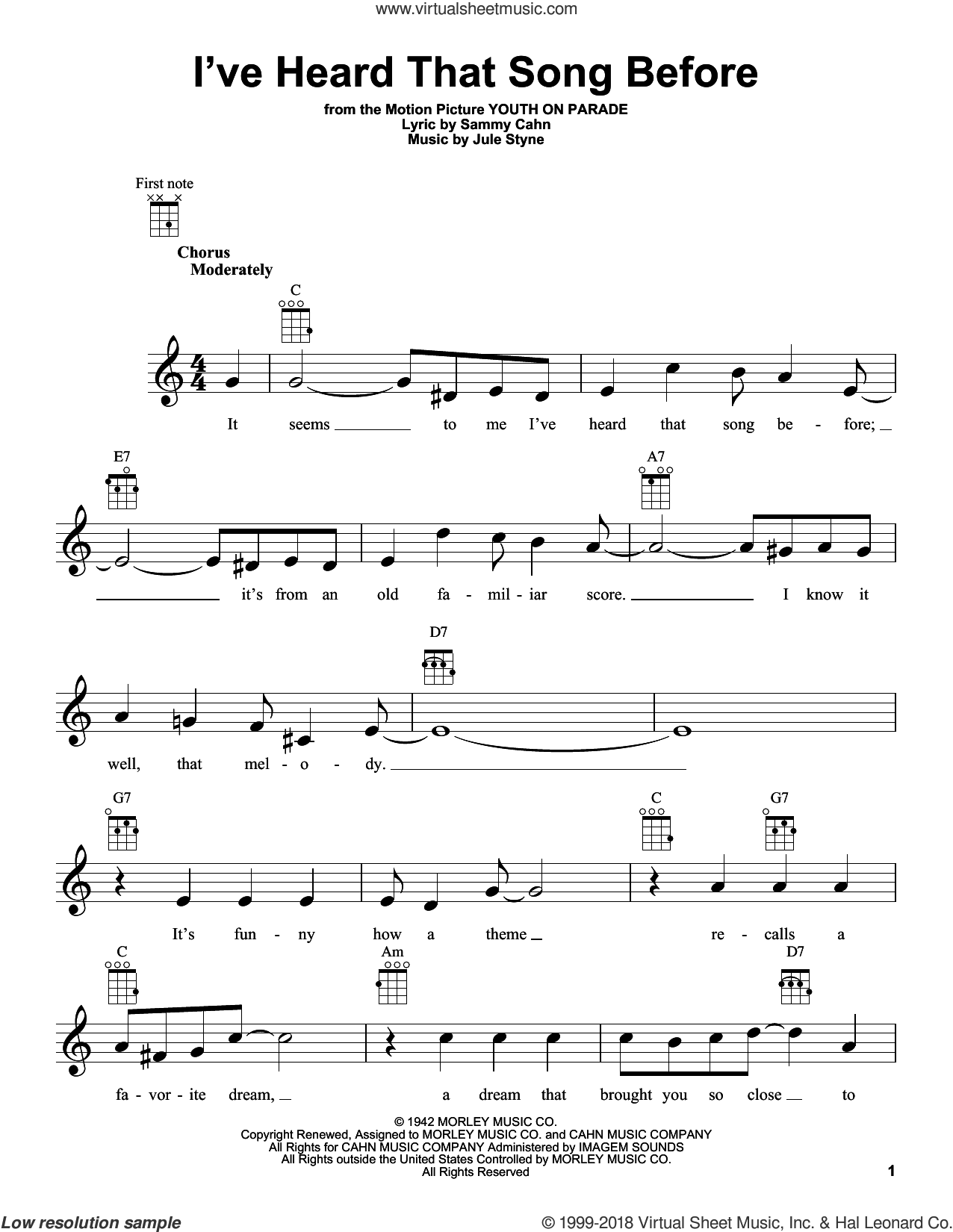 I've Heard That Song Before sheet music for ukulele by Sammy Cahn and Jule Styne, intermediate skill level