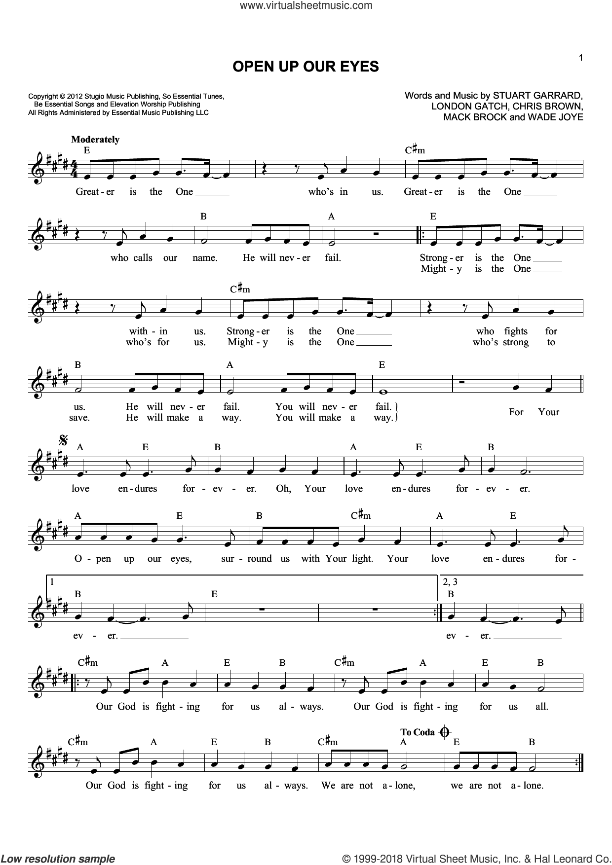 Open Up Our Eyes sheet music for voice and other instruments (fake book) by Elevation Worship, Chris Brown, London Gatch, Mack Brock, Stuart Garrard and Wade Joye, intermediate skill level