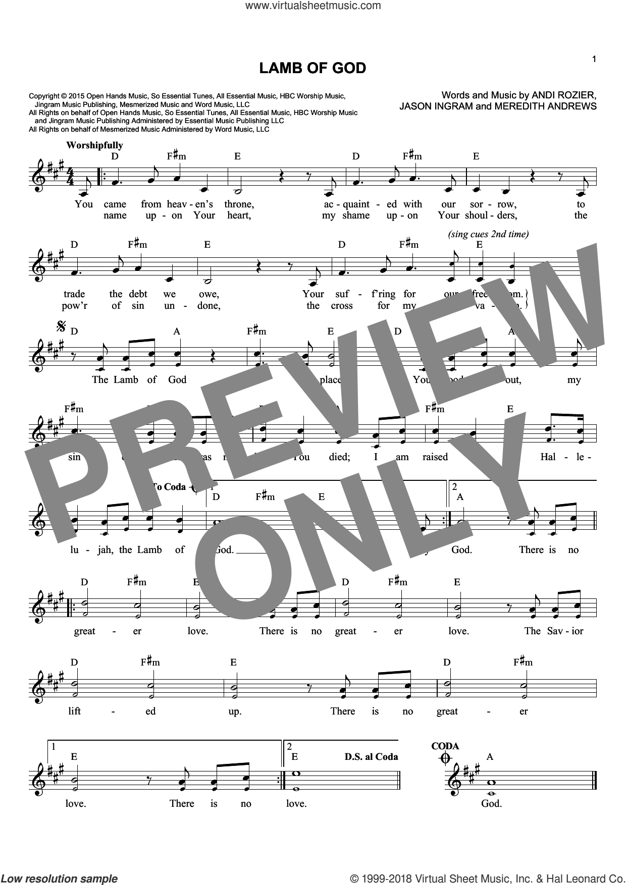 Lamb Of God sheet music for voice and other instruments (fake book) by Andi Rozier, Jason Ingram and Meredith Andrews, intermediate skill level