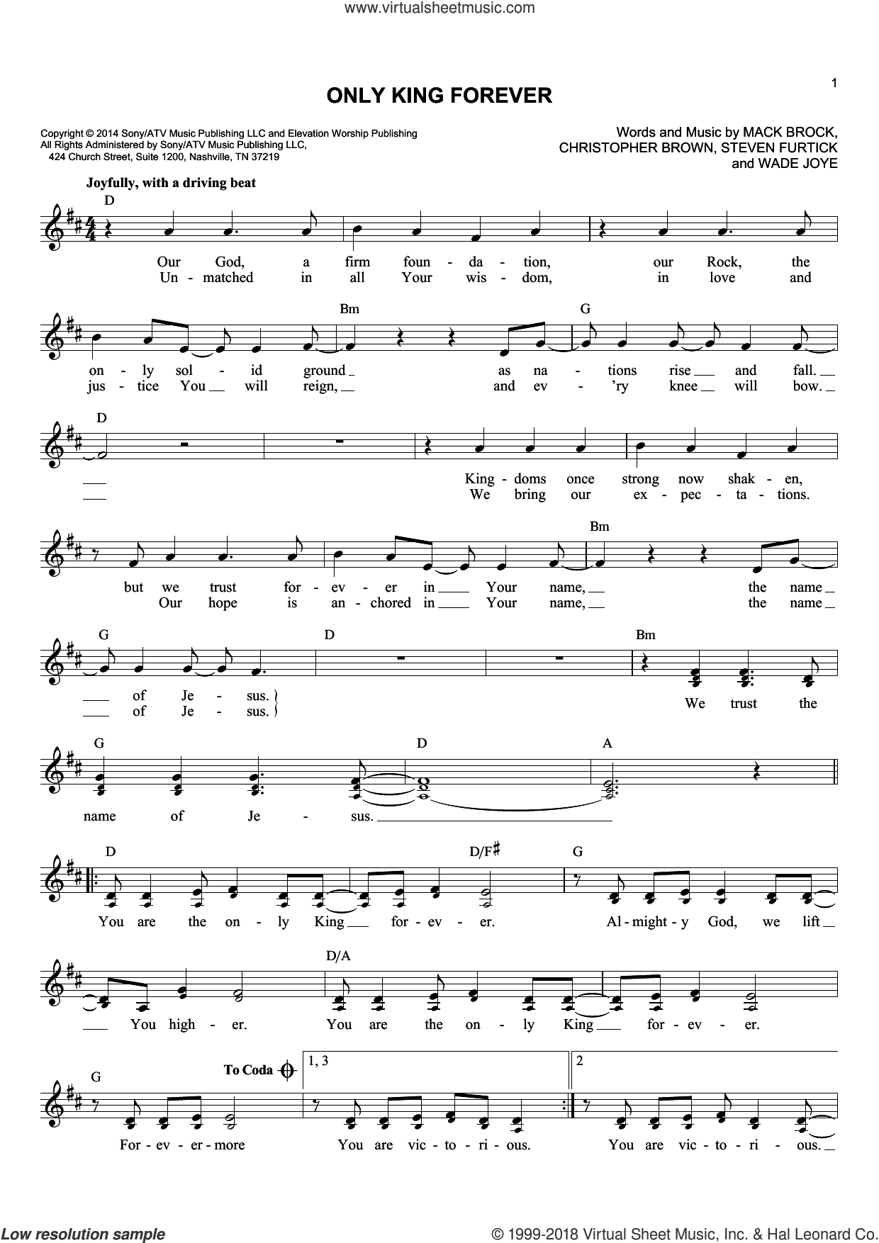 Only King Forever sheet music for voice and other instruments (fake book) by Elevation Worship, Chris Brown, Mack Brock, Steven Furtick and Wade Joye, intermediate skill level