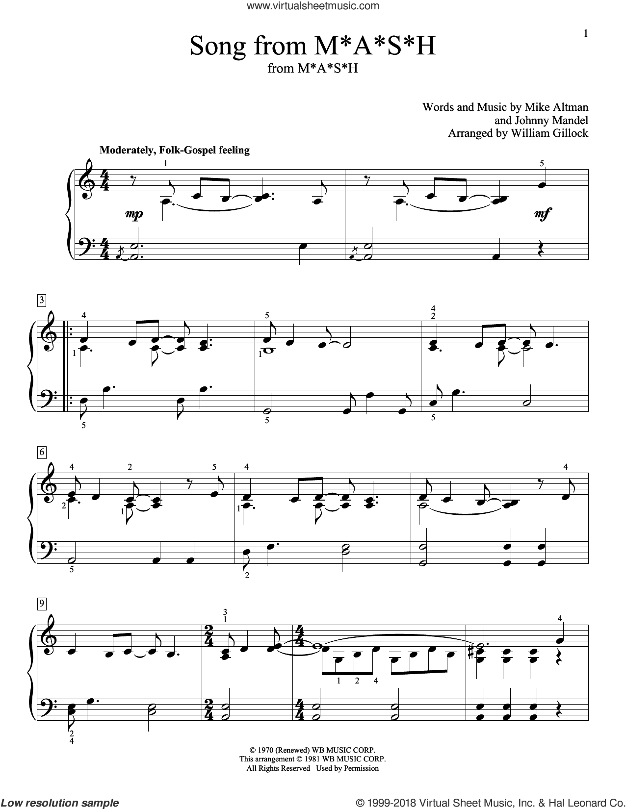 Song From M*A*S*H (Suicide Is Painless) sheet music for piano solo (elementary) by Johnny Mandel, William Gillock and Mike Altman, beginner piano (elementary)