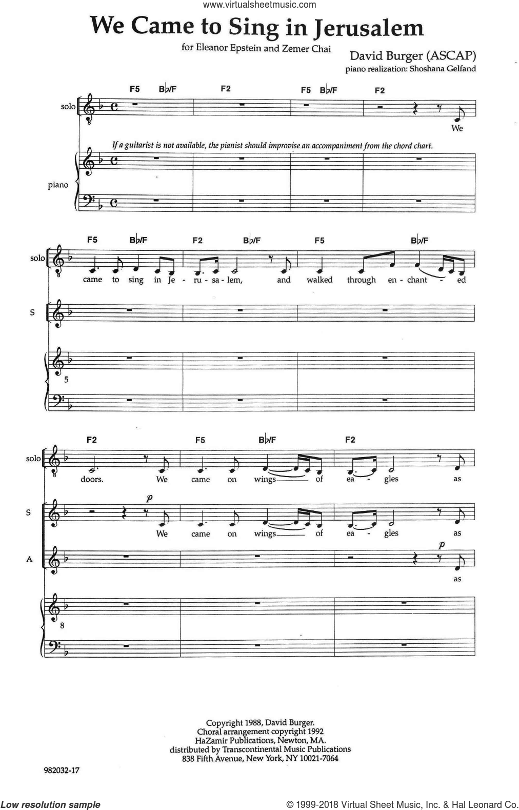 We Came To Sing In Jerusalem sheet music for choir (SATB: soprano, alto, tenor, bass) by David Burger, intermediate skill level