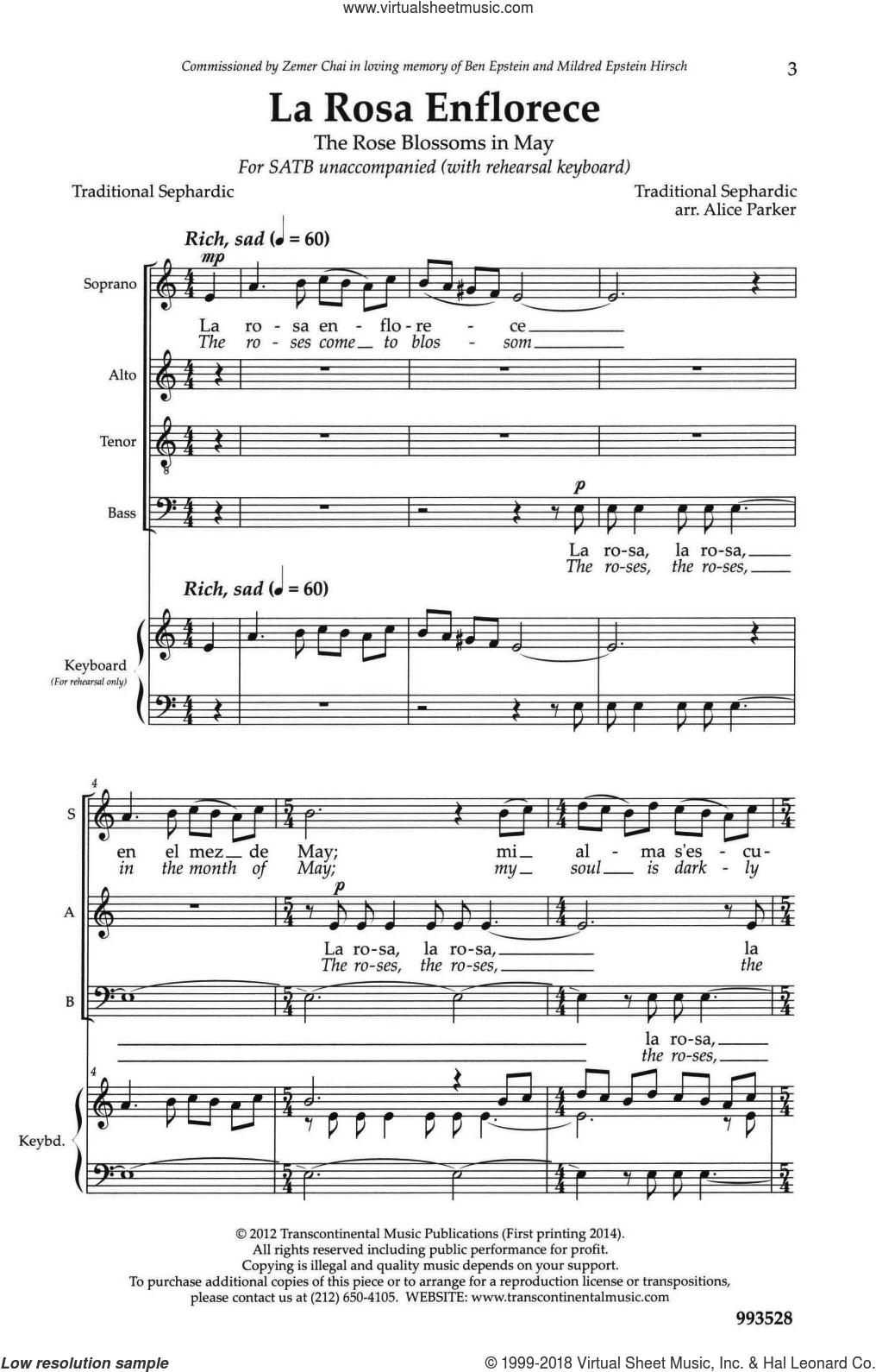 La Rosa Enflorece sheet music for choir (SATB: soprano, alto, tenor, bass) by Alice Parker, intermediate skill level