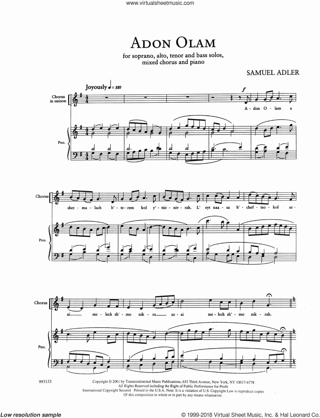Five Sephardic Choruses: Adon Olam sheet music for choir (SATB: soprano, alto, tenor, bass) by Samuel Adler, intermediate skill level
