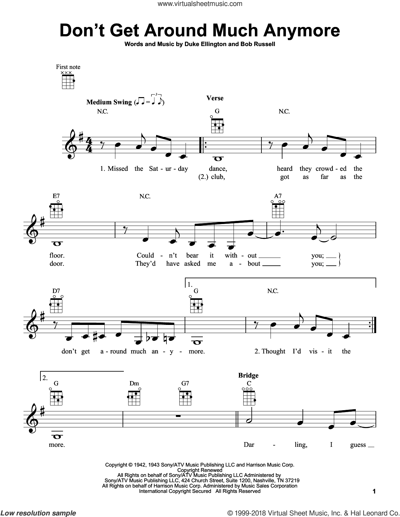 Don't Get Around Much Anymore sheet music for ukulele by Duke Ellington and Bob Russell, intermediate skill level