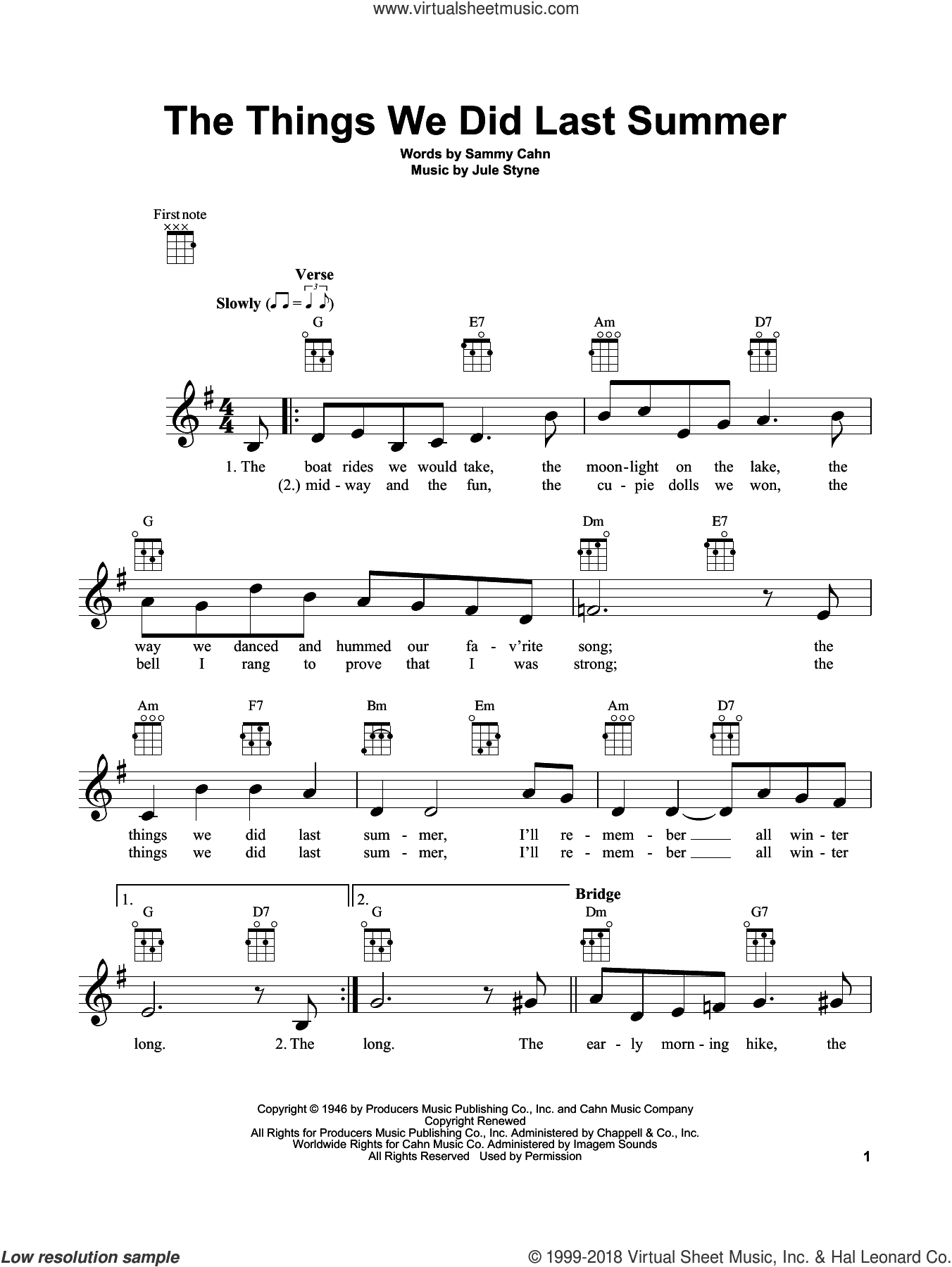 The Things We Did Last Summer sheet music for ukulele by Sammy Cahn and Jule Styne, intermediate skill level