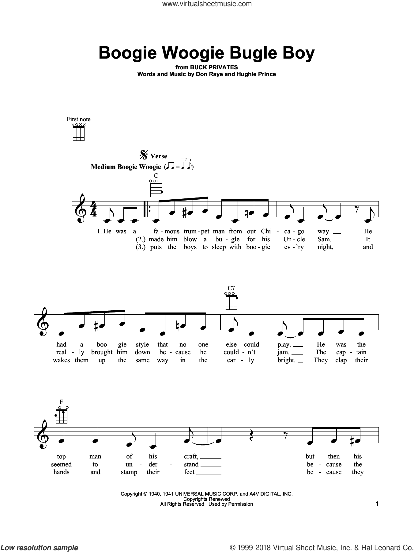Boogie Woogie Bugle Boy sheet music for ukulele by Don Raye and Hughie Prince, intermediate skill level