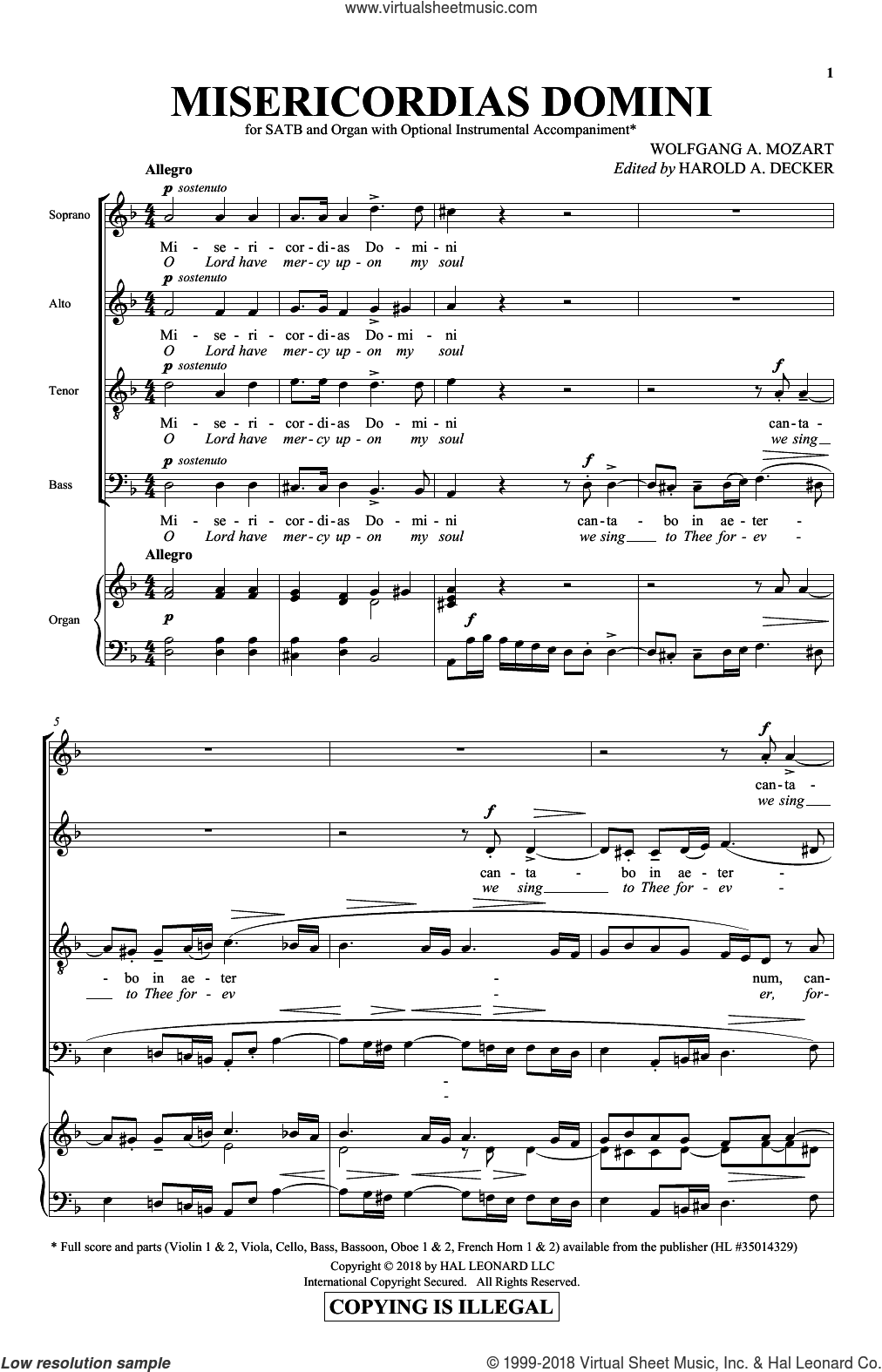 Misericordias Domini sheet music for choir (SATB: soprano, alto, tenor, bass) by Wolfgang Amadeus Mozart and Harold Decker, classical score, intermediate skill level