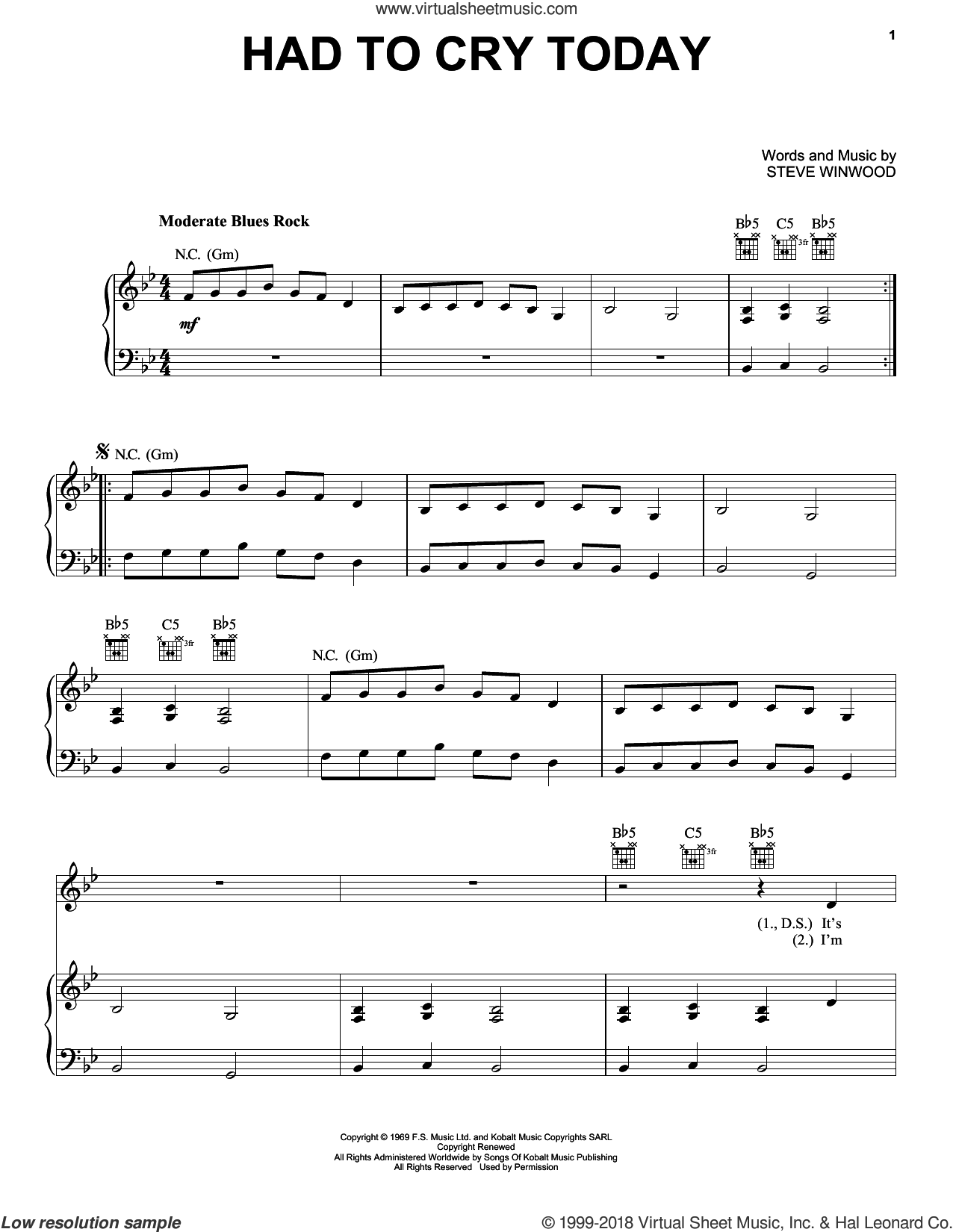 Had To Cry Today sheet music for voice, piano or guitar by Eric Clapton and Steve Winwood, intermediate skill level