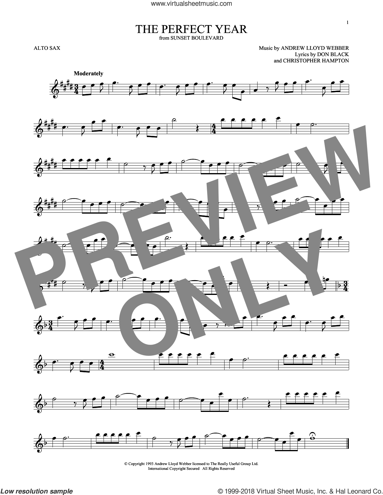 The Perfect Year (from Sunset Boulevard) sheet music for alto saxophone solo by Andrew Lloyd Webber, Christopher Hampton and Don Black, intermediate skill level