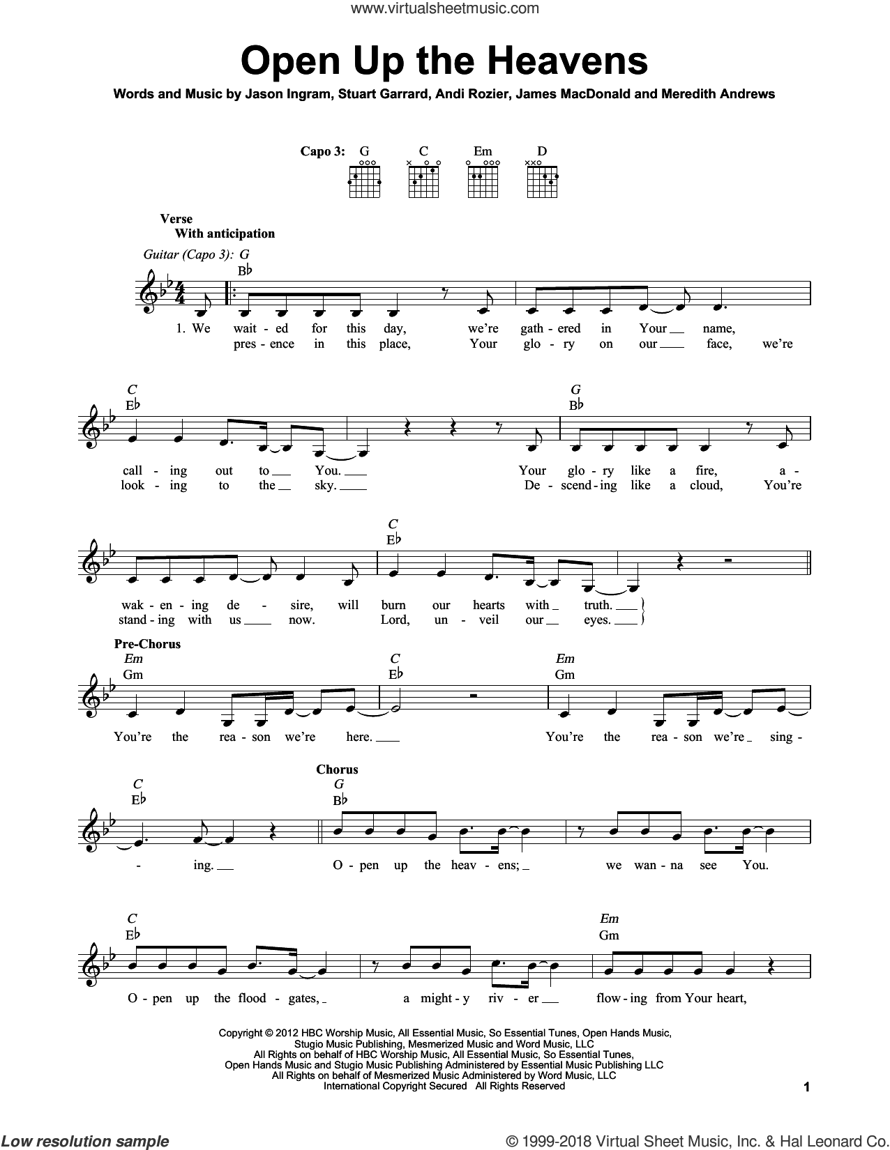 Open Up The Heavens sheet music for guitar solo (chords) by Meredith Andrews, Andi Rozier, James MacDonald, Jason Ingram and Stuart Garrard, easy guitar (chords)