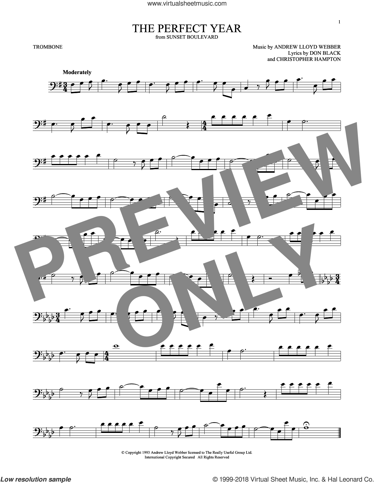 The Perfect Year (from Sunset Boulevard) sheet music for trombone solo by Andrew Lloyd Webber, Christopher Hampton and Don Black, intermediate skill level