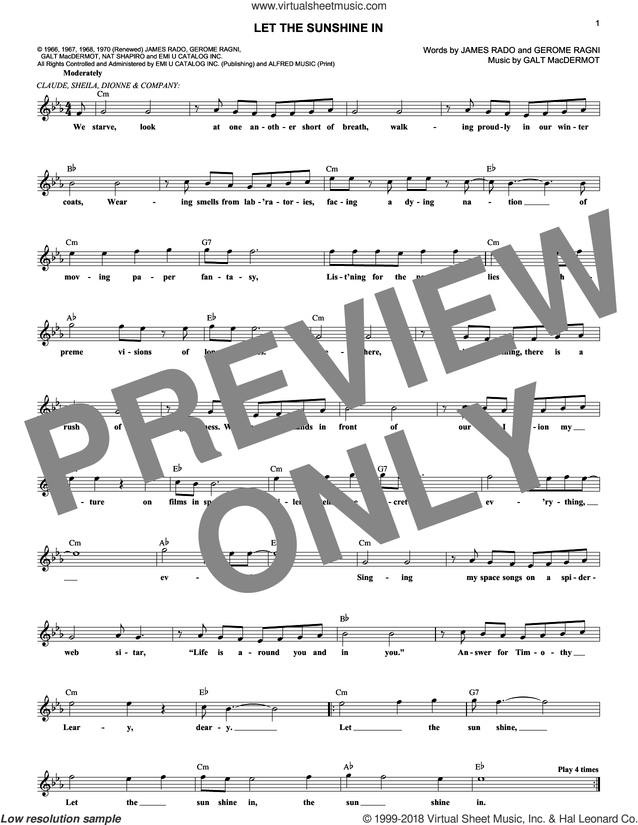 Let The Sunshine In sheet music for voice and other instruments (fake book) by The Fifth Dimension, Galt MacDermot, Gerome Ragni and James Rado, intermediate skill level