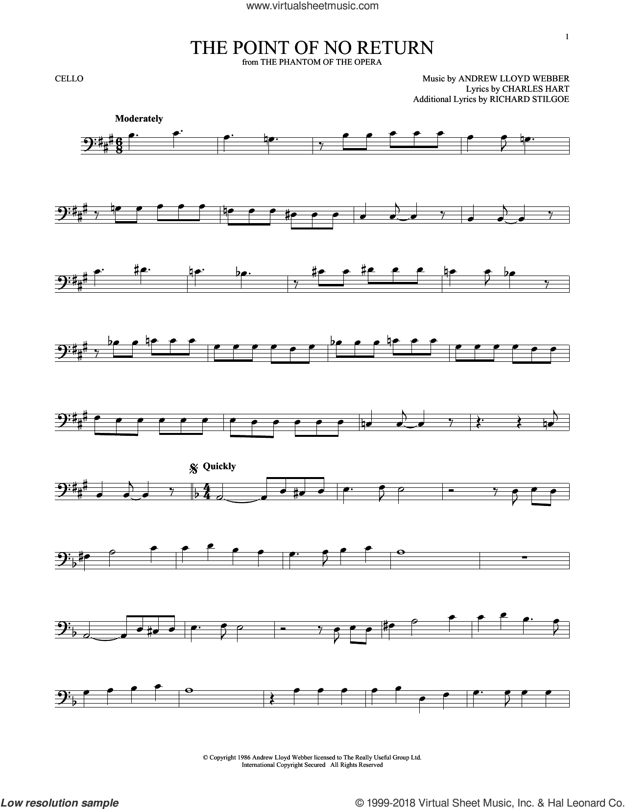 The Point Of No Return (from The Phantom Of The Opera) sheet music for cello solo by Andrew Lloyd Webber, Charles Hart and Richard Stilgoe, intermediate skill level