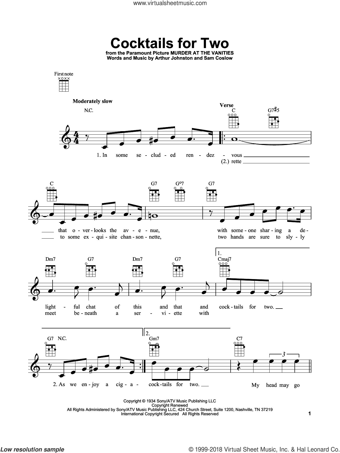 Cocktails For Two sheet music for ukulele by Arthur Johnston, Carl Brisson, Miriam Hopkins, Spike Jones & The City Slickers and Sam Coslow, intermediate skill level