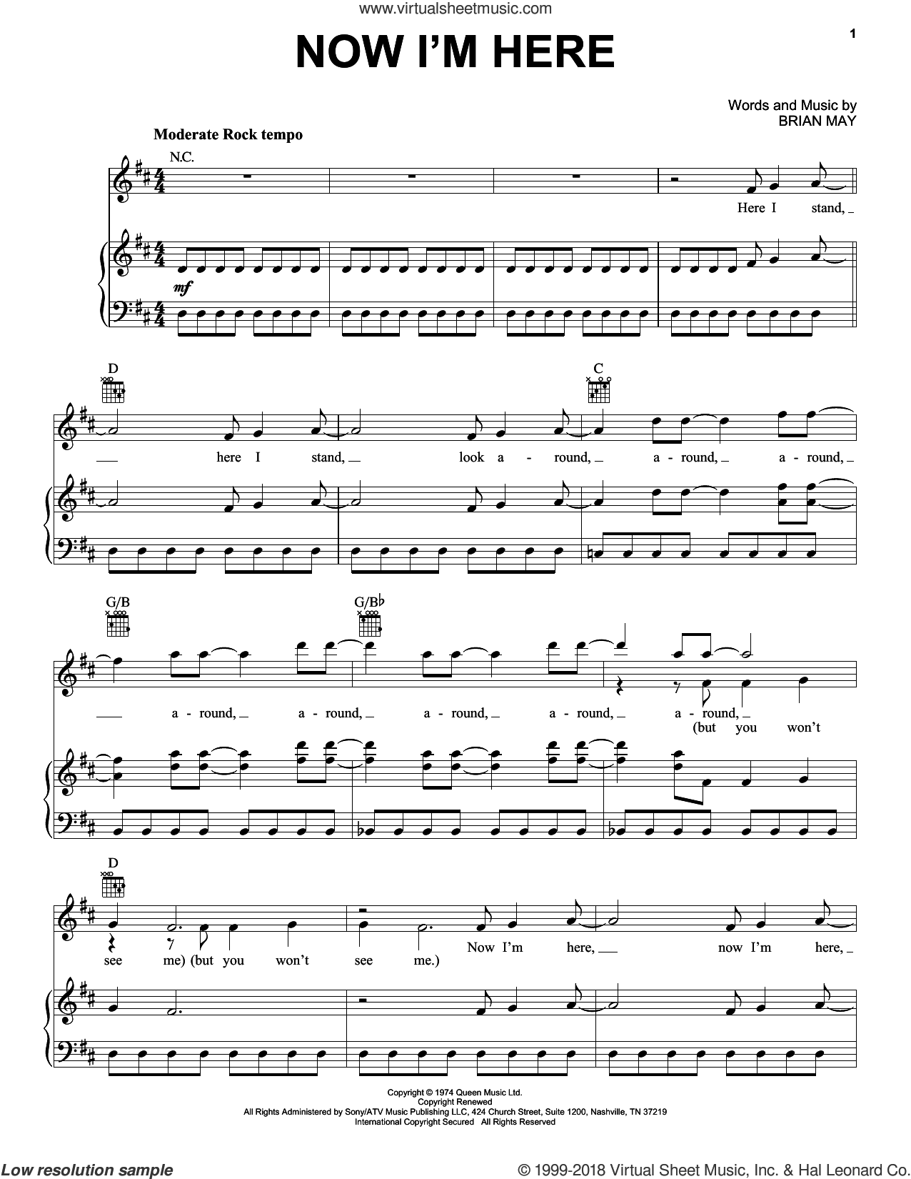 Now I'm Here sheet music for voice, piano or guitar by Queen and Brian May, intermediate skill level