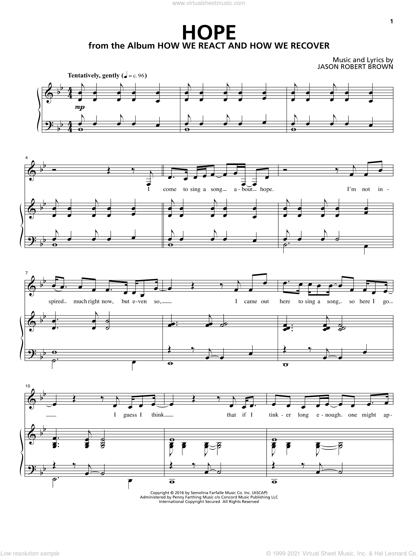 Hope (from How We React And How We Recover) sheet music for voice and piano by Jason Robert Brown, intermediate skill level