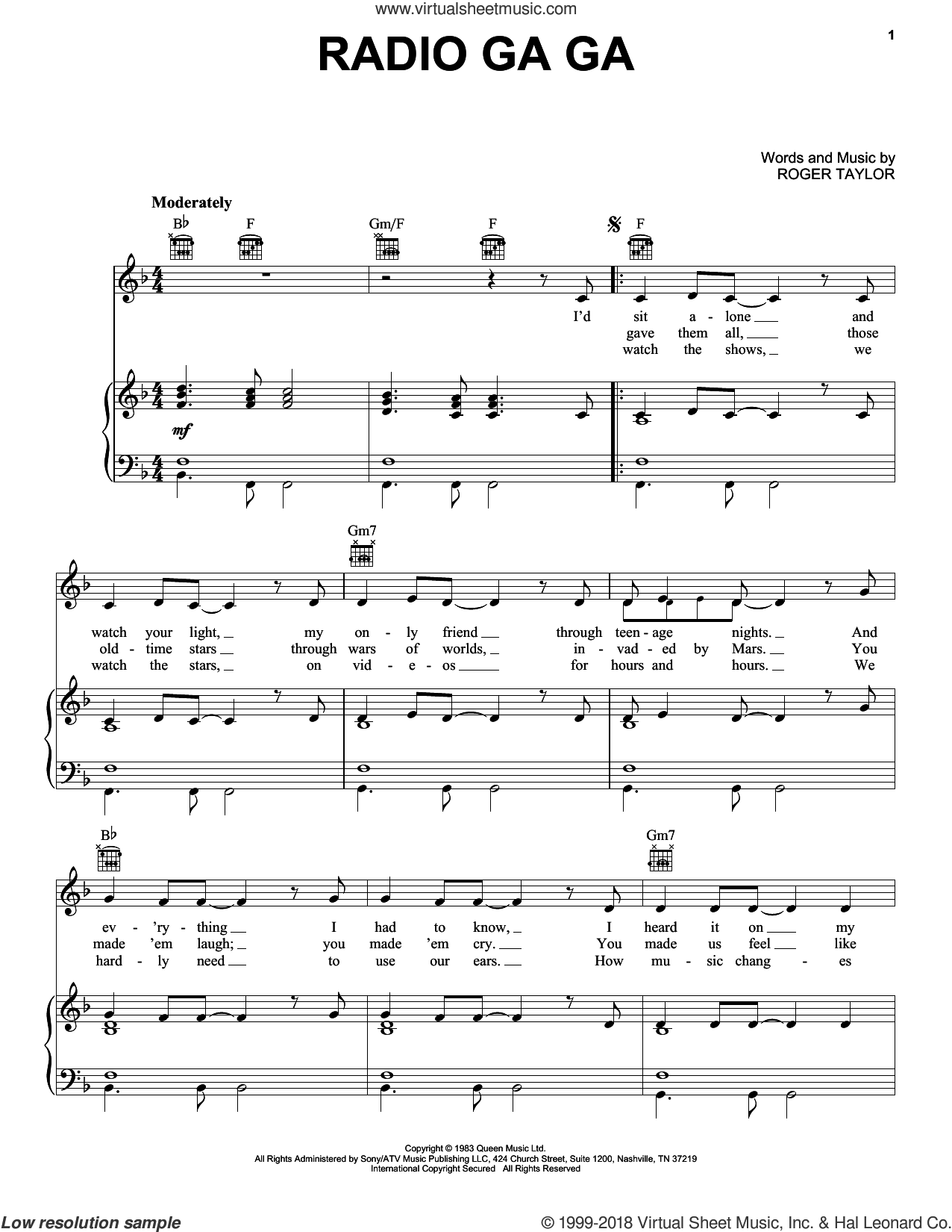 Radio Ga Ga sheet music for voice, piano or guitar by Queen and Roger Taylor, intermediate skill level