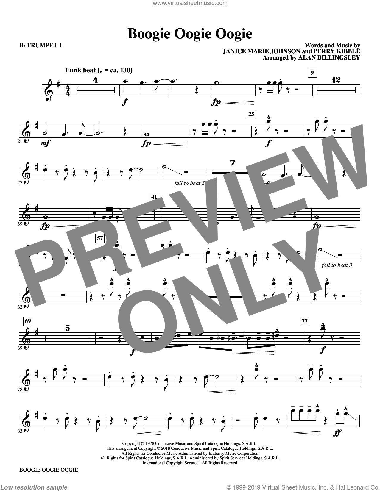 Boogie Oogie Oogie (arr. Alan Billingsley) (complete set of parts) sheet music for orchestra/band by Alan Billingsley, A Taste Of Honey, Janice Marie Johnson and Perry Kibble, intermediate skill level