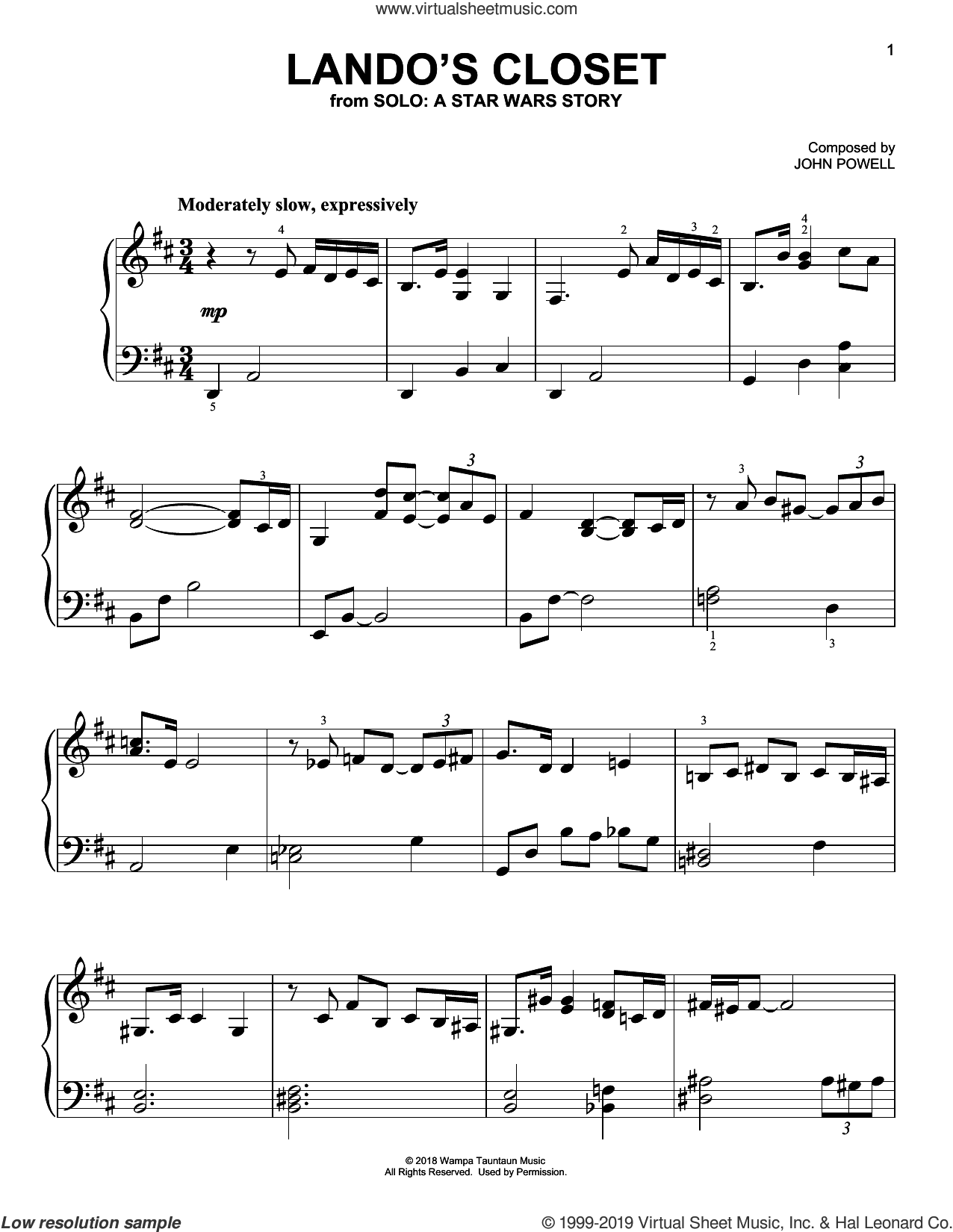 Lando's Closet (from Solo: A Star Wars Story) sheet music for piano solo by John Powell, classical score, easy skill level