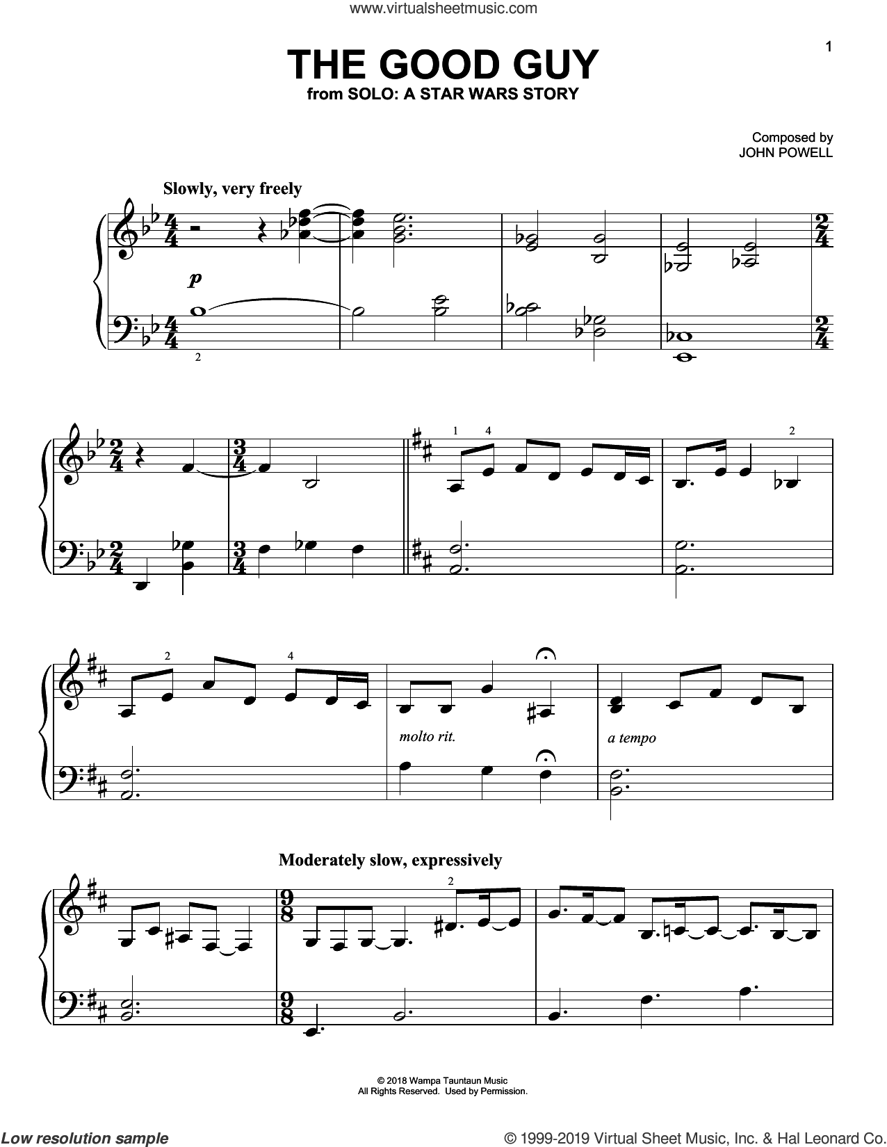 The Good Guy (from Solo: A Star Wars Story) sheet music for piano solo by John Powell, classical score, easy skill level