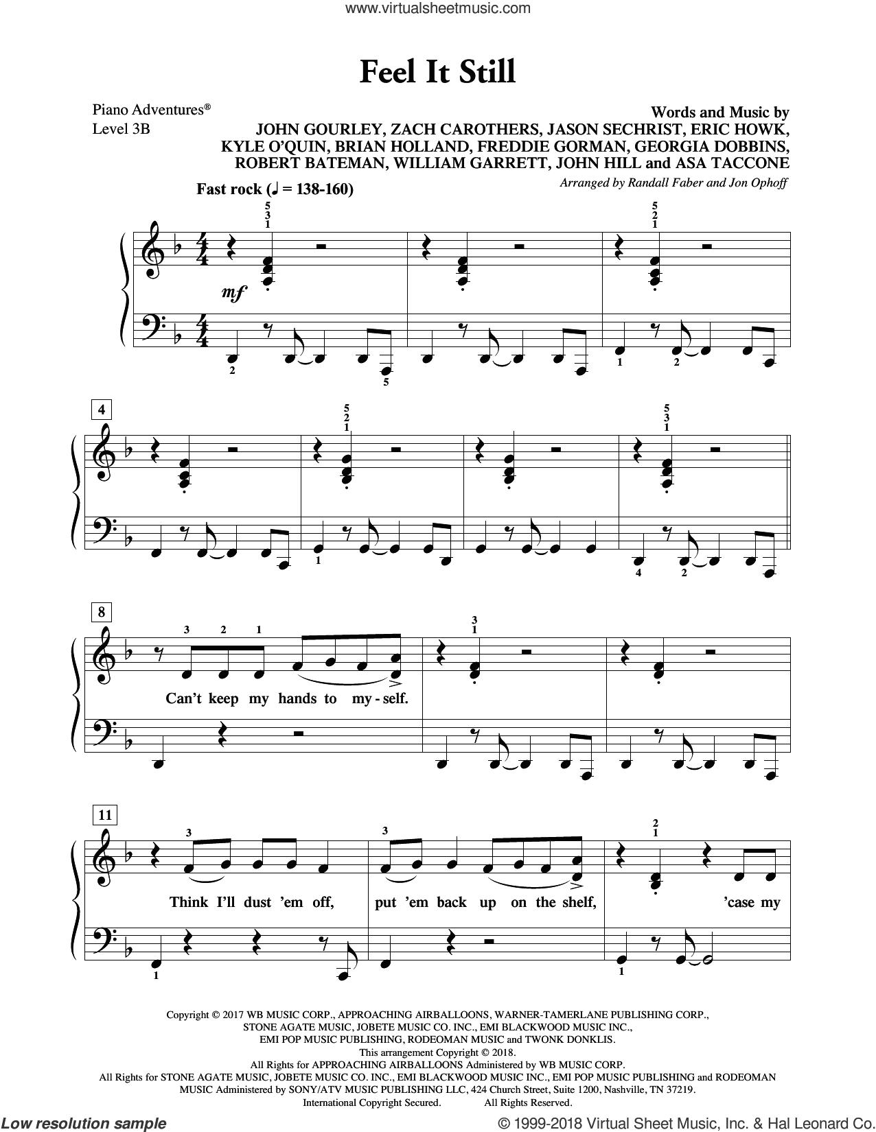 Feel It Still sheet music for piano solo by John Hill, Randall Faber & Jon Ophoff, John Gourley, Portugal. The Man, Zach Carothers, Jason Wade Sechrist, John Baldwin Gourley, Robert Bateman and William Garrett, intermediate/advanced skill level