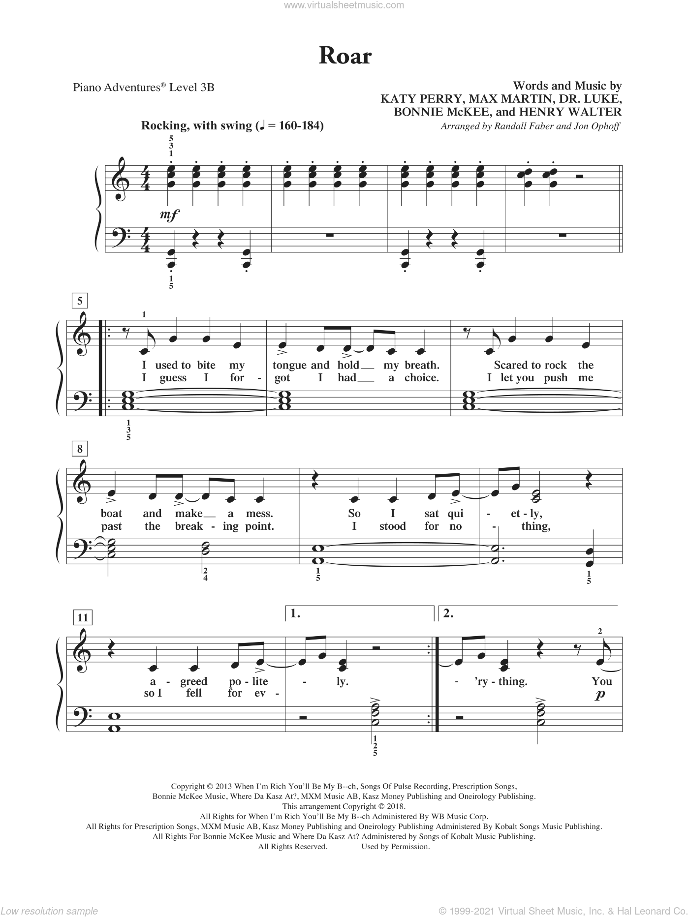 Roar sheet music for piano solo by Katy Perry, Randall Faber & Jon Ophoff, Bonnie McKee, Dr. Luke, Henry Walter and Max Martin, intermediate/advanced skill level