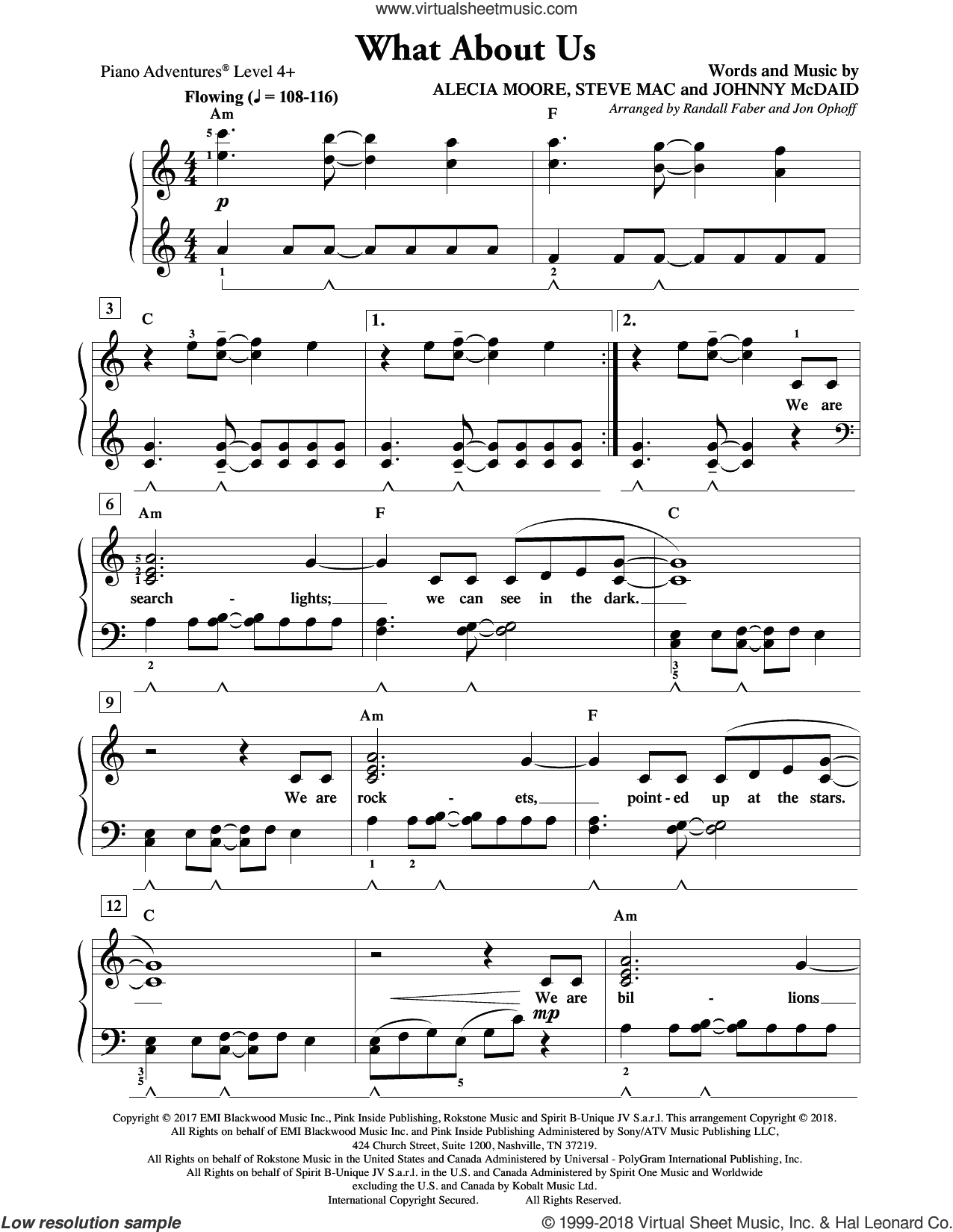 What About Us sheet music for piano solo by Randall Faber & Jon Ophoff, Miscellaneous, Alecia Moore, Johnny McDaid and Steve Mac, intermediate/advanced skill level
