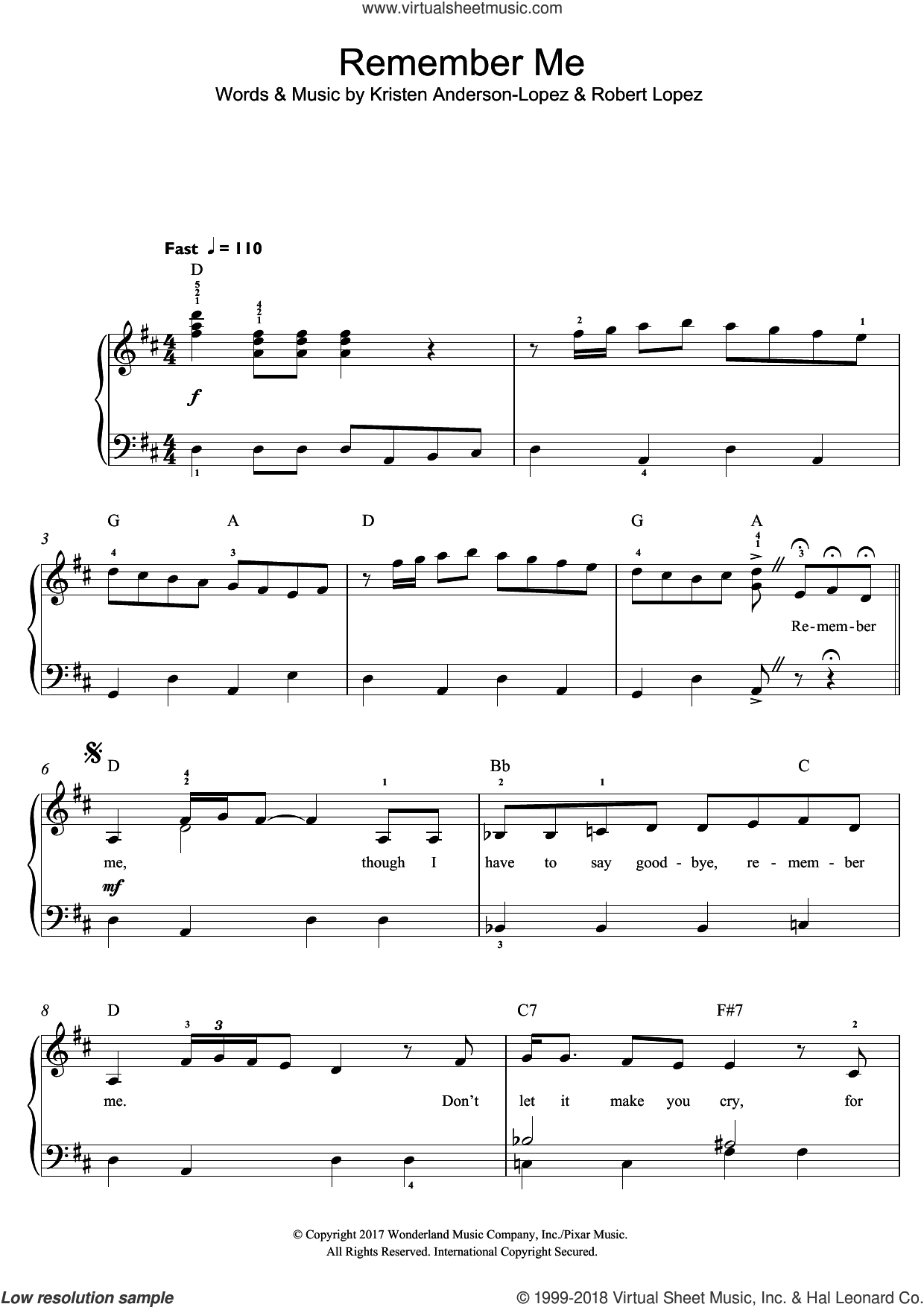 Remember Me (Ernesto de la Cruz) (from Coco) sheet music for piano solo (beginners) by Kristen Anderson-Lopez, Kristen Anderson-Lopez & Robert Lopez and Robert Lopez, beginner piano (beginners)