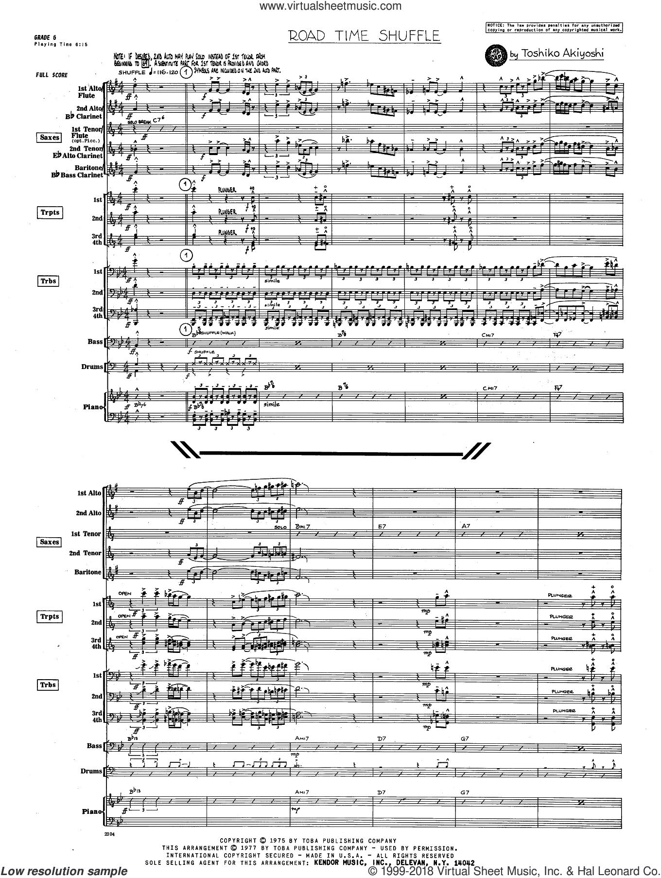 Road Time Shuffle (COMPLETE) sheet music for jazz band by Toshiko Akiyoshi, intermediate skill level