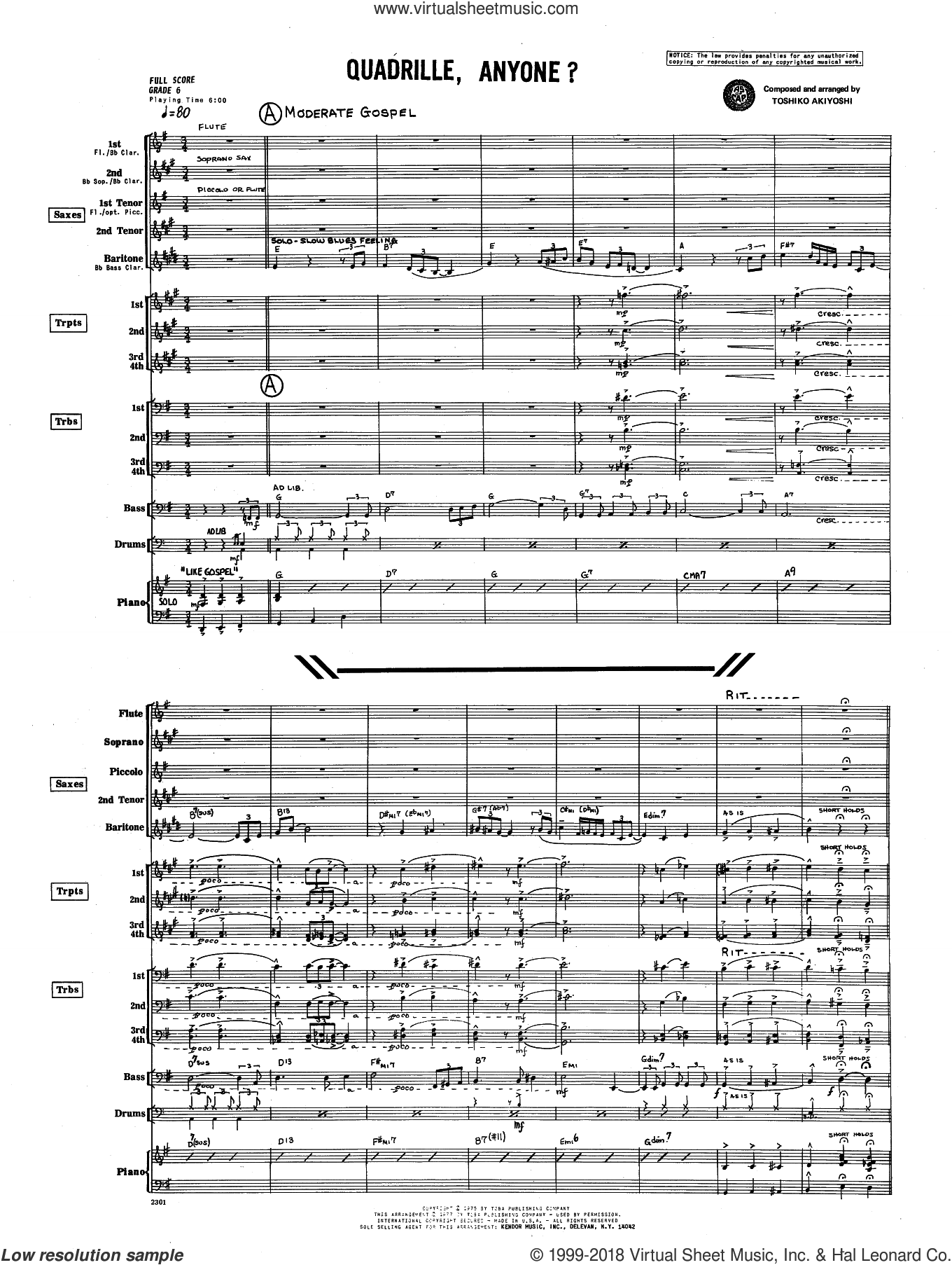 Quadrille, Anyone? (COMPLETE) sheet music for jazz band by Toshiko Akiyoshi, intermediate skill level