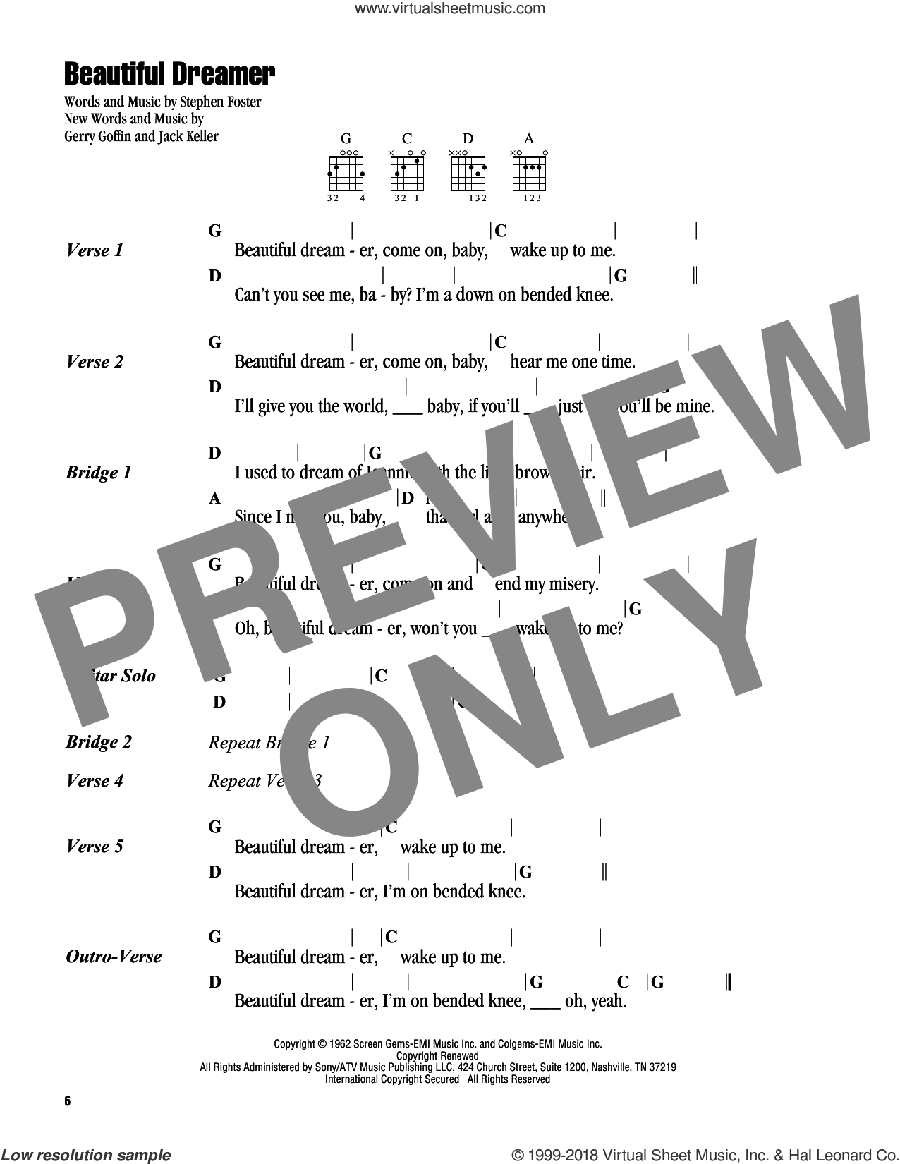 Beautiful Dreamer sheet music for guitar (chords) by The Beatles, Gerry Goffin, Jack Keller and Stephen Foster, intermediate skill level