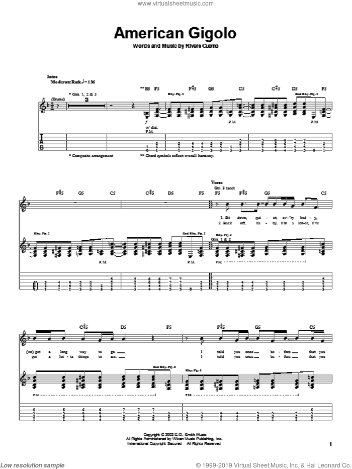 American Gigolo sheet music for guitar (tablature) by Rivers Cuomo and Weezer. Score Image Preview.