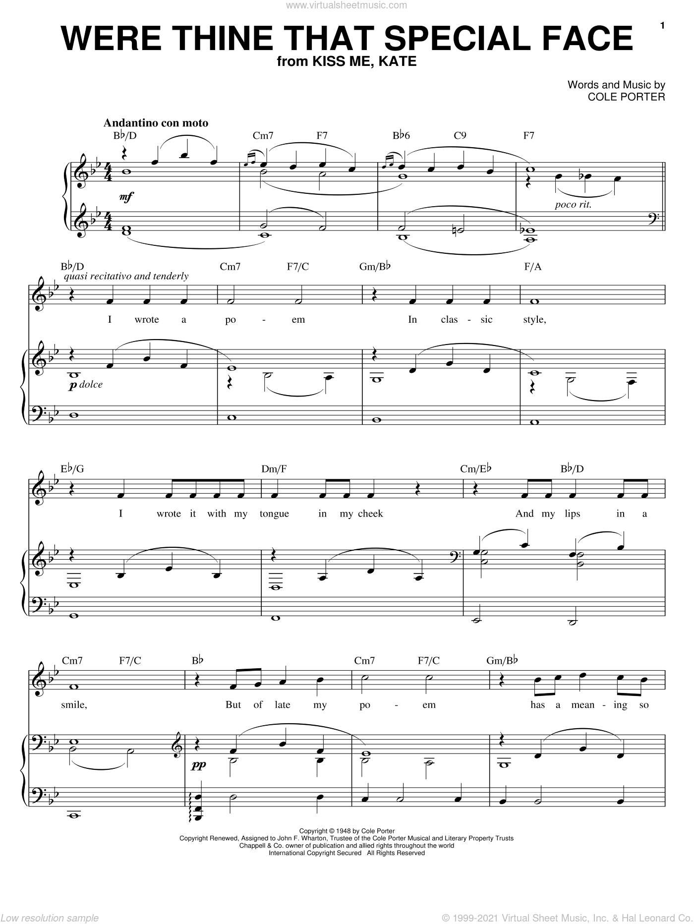 Were Thine That Special Face (from Kiss Me, Kate) sheet music for voice and piano by Joan Frey Boytim and Cole Porter, intermediate skill level