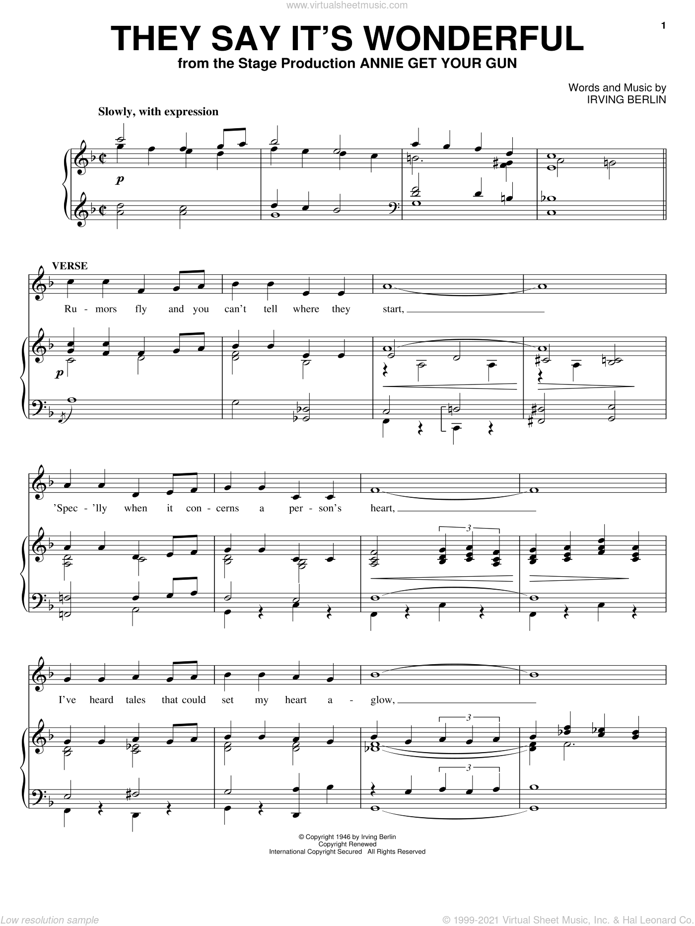 They Say It's Wonderful sheet music for voice and piano by Irving Berlin and Annie Get Your Gun (Musical), intermediate skill level