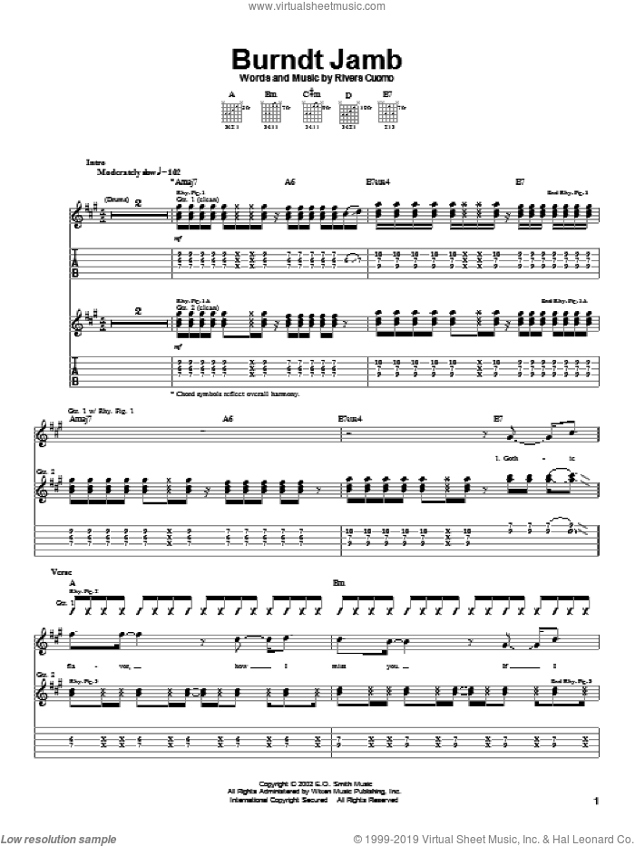 Burndt Jamb sheet music for guitar (tablature) by Weezer, intermediate guitar (tablature). Score Image Preview.